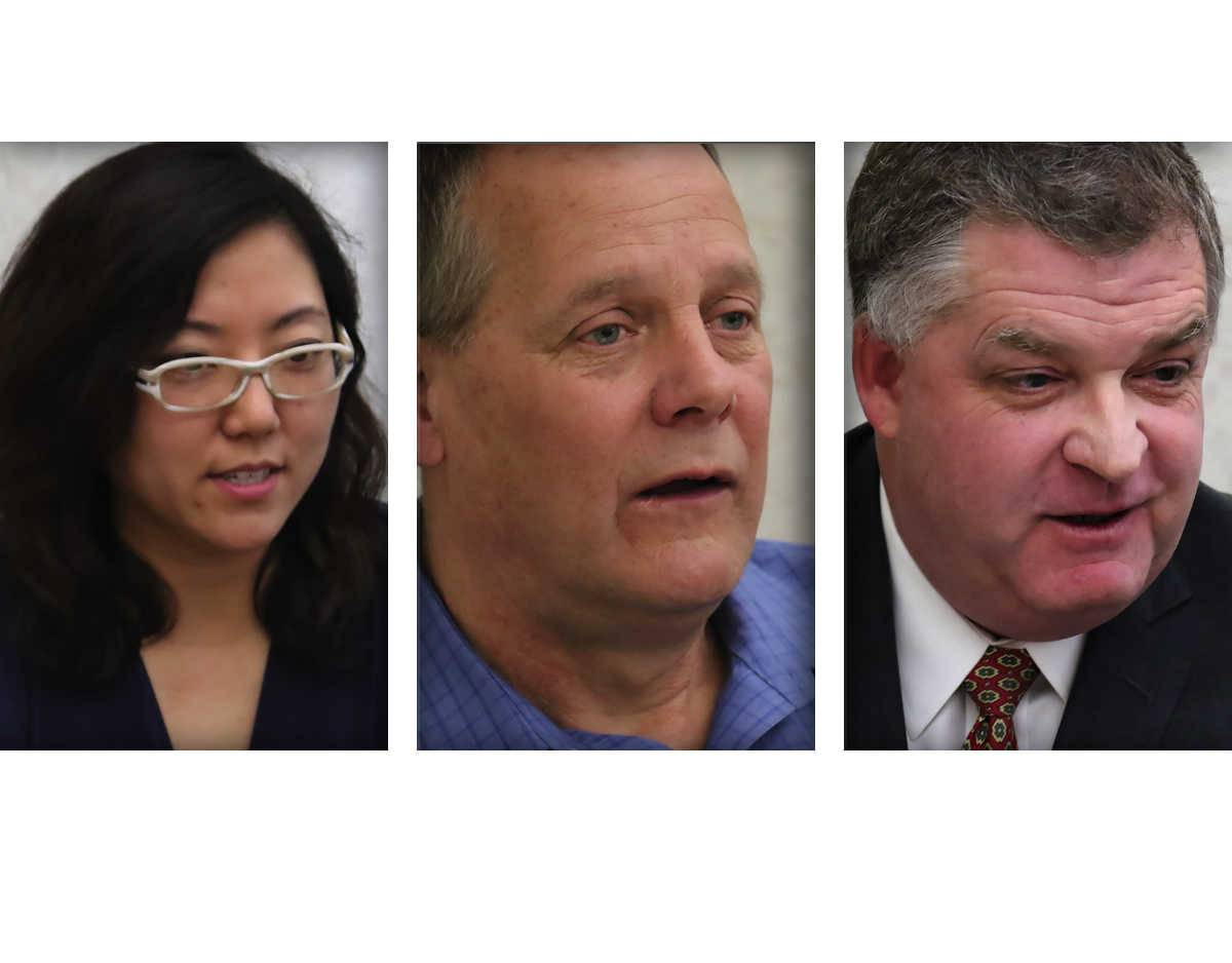 From left, Holly Kim, Ray Ladewig and Steve Lentz are candidates for Mundelein mayor.