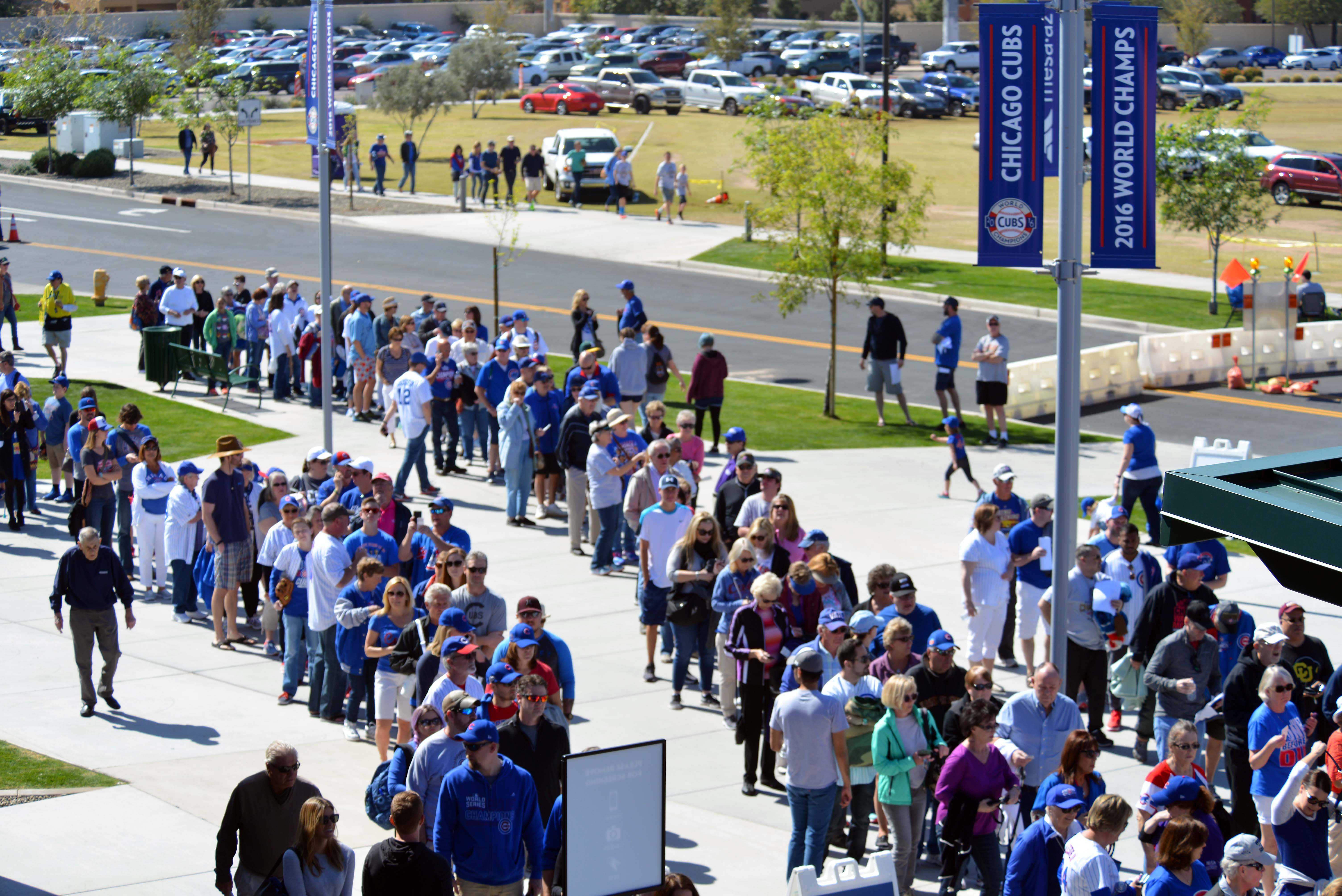 Bruce Miles/bmiles@dailyherald.comFans entering Sloan Park on opening day for the Cactus League.