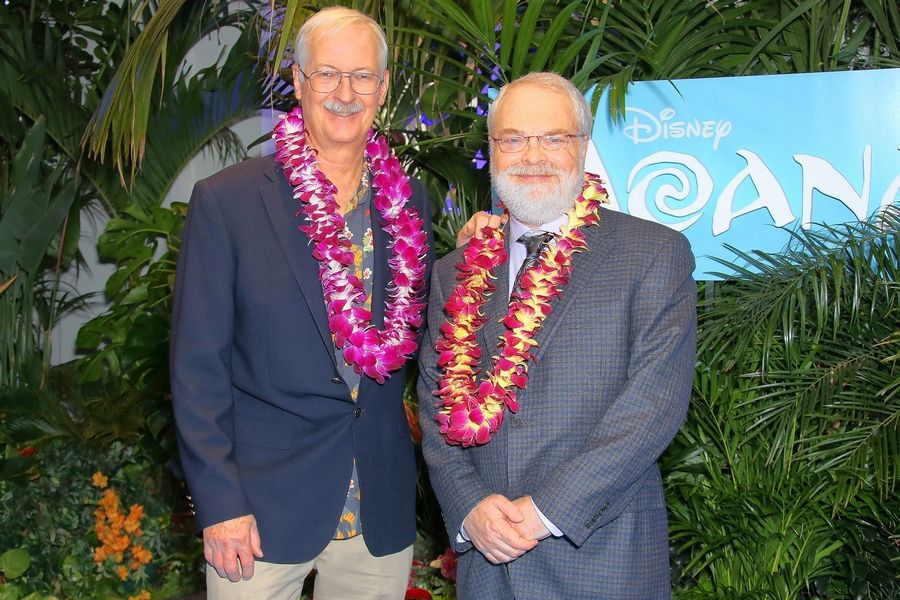 "Directors John Musker, left, and Ron Clements attend a November screening of their film ""Moana"" in London."