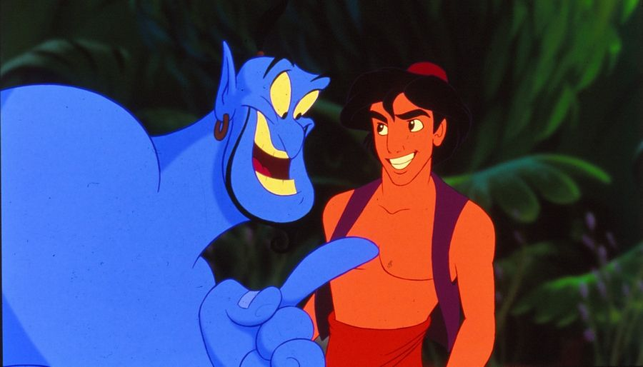 "Chicago-born film director John Musker came up with the idea of asking Chicago-born comic actor Robin Williams to provide the voice and freewheeling personality of the Genie in Walt Disney's ""Aladdin."""