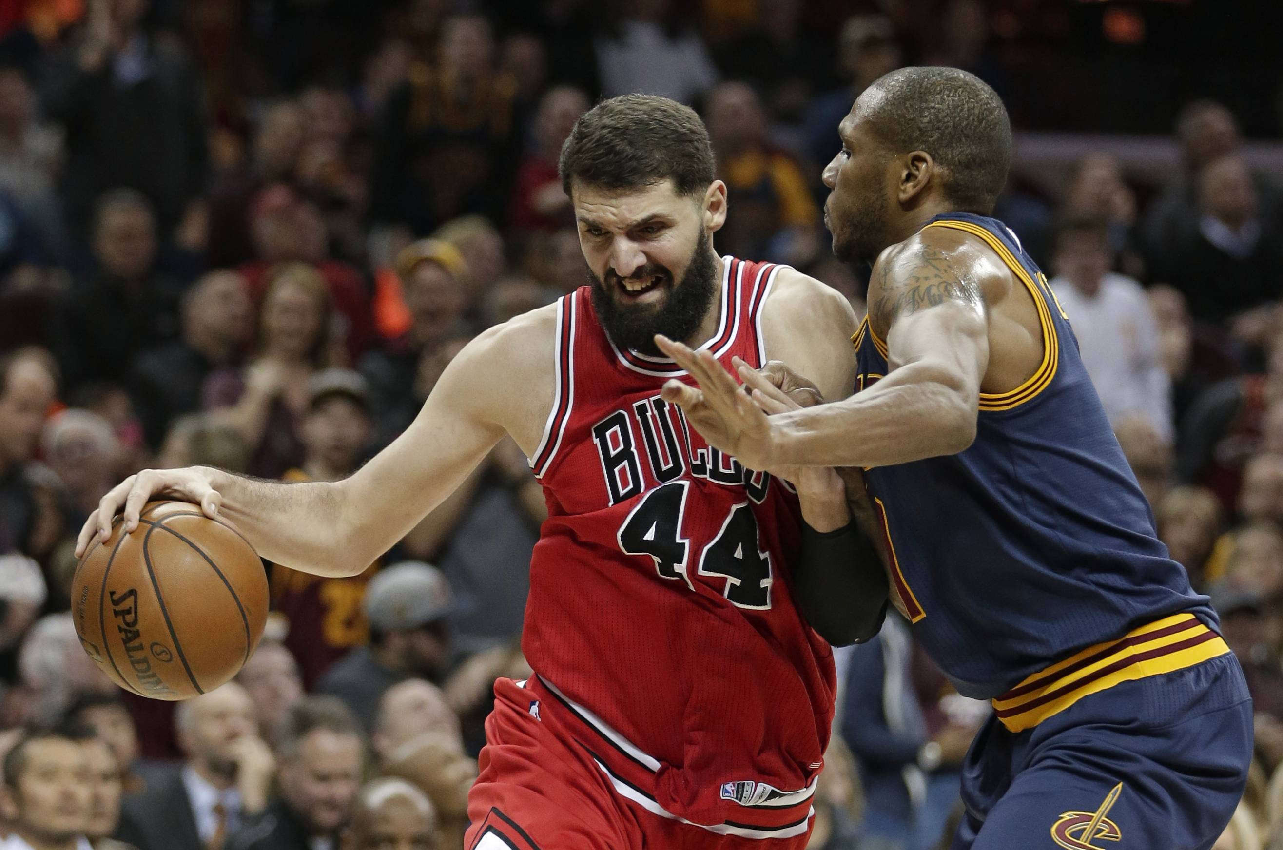 "Chicago Bulls' Nikola Mirotic recorded his fifth double-double of the season Saturday against Cleveland with 14 points and 10 rebounds. Mirotic said he was glad to not be traded away at deadline. ""This is the team I love and the team I want to play for,"" he said."