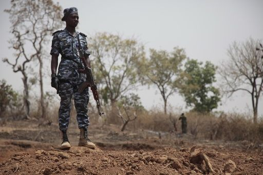 Security officers stand guard at the scene where a German archaeologists and his associate were kidnapped in Janjala Village, Nigeria. Friday, Feb. 24, 2017. Kidnappers are demanding a ransom of 60 million naira (about Dlrs 200,000 US) for the two captives abducted this week from Janjala village in northern Nigeria,  the excavation site where the German archaeologists was working. Two villagers were shot and killed in the kidnapping, police confirmed Friday.