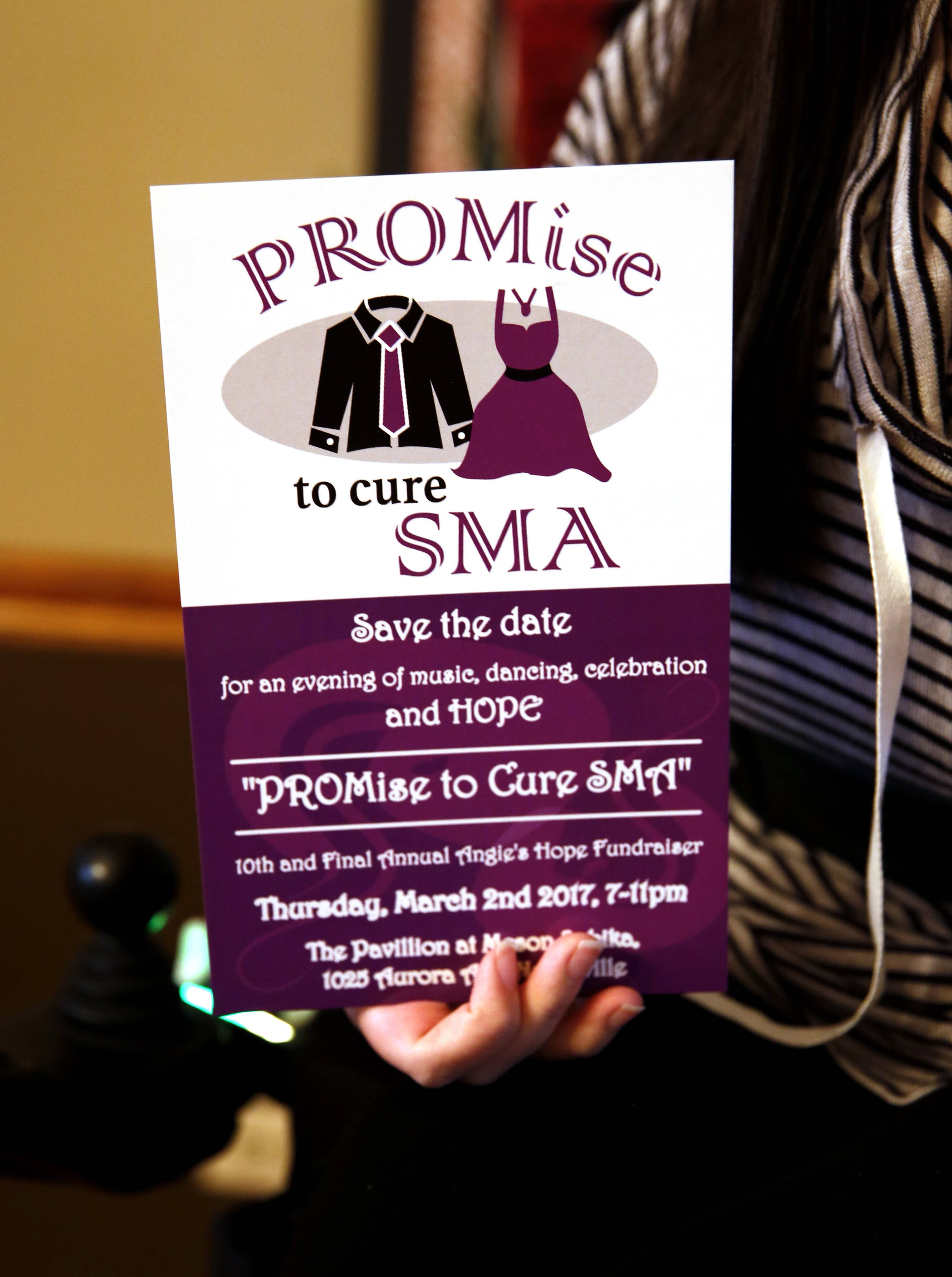 "Instead of a garage sale or a Big Ball Soccer Tournament, events the Naperville nonprofit Angie's Hope has hosted in the past, the group this year is hosting ""PROMise to Cure SMA"" on Thursday, March 2. The fundraiser celebrates 10 years of efforts to cure SMA and the recent FDA approval of the first drug to treat the degenerative disease."