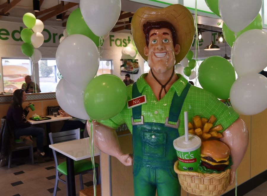 "The ""Nic"" mascot is on display at Nic's Organic Fast Food, the nation's first QAI-certified organic drive-through restaurant."