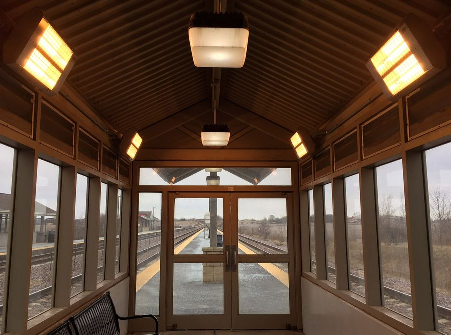 Heaters were recently added at the La Fox Metra station.
