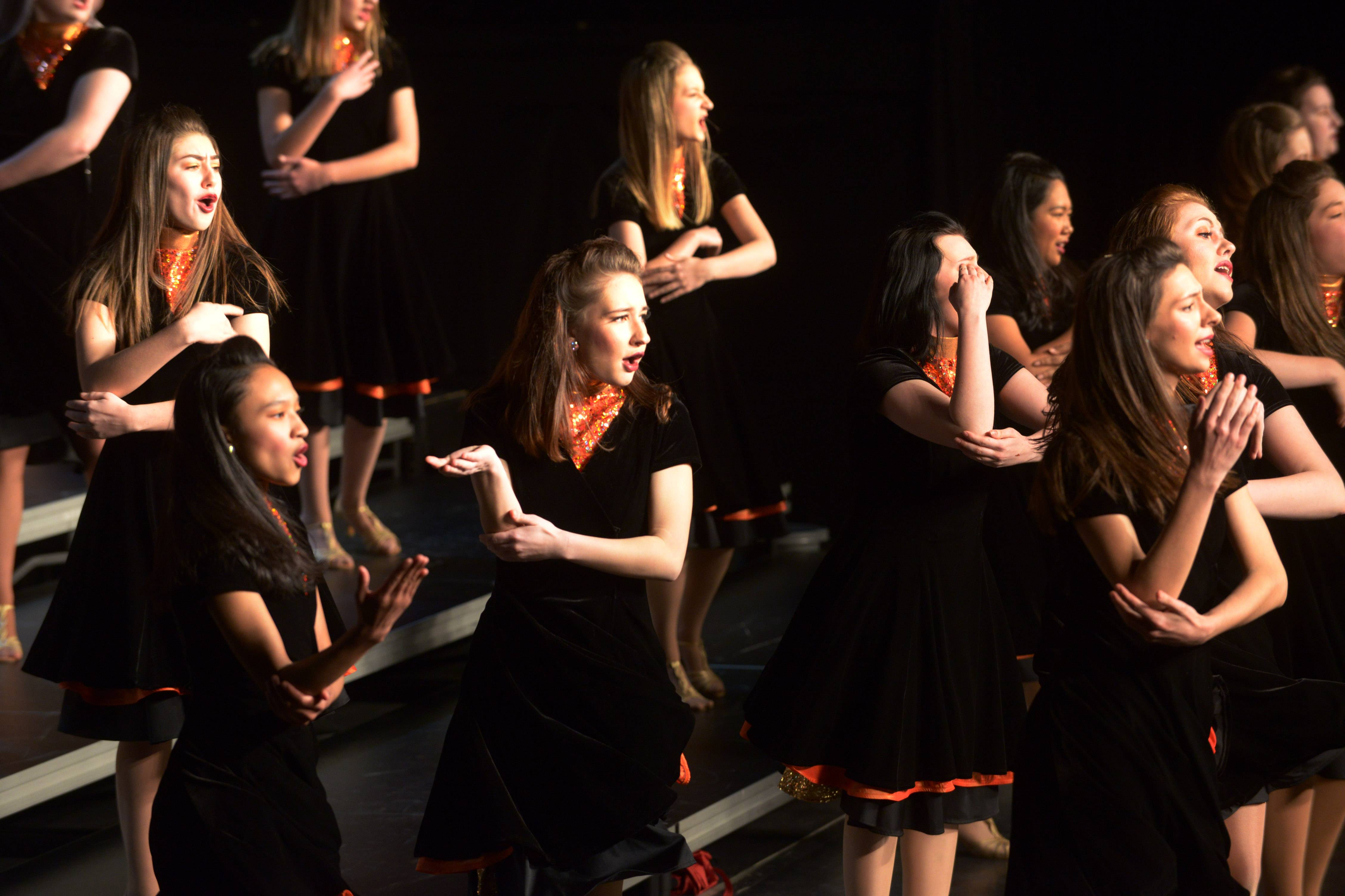 The Rolling Meadows Leading Ladies perform during the 24th annual Chicagoland Showcase showchoir competition at John Hersey High School in Arlington Heights Saturday.