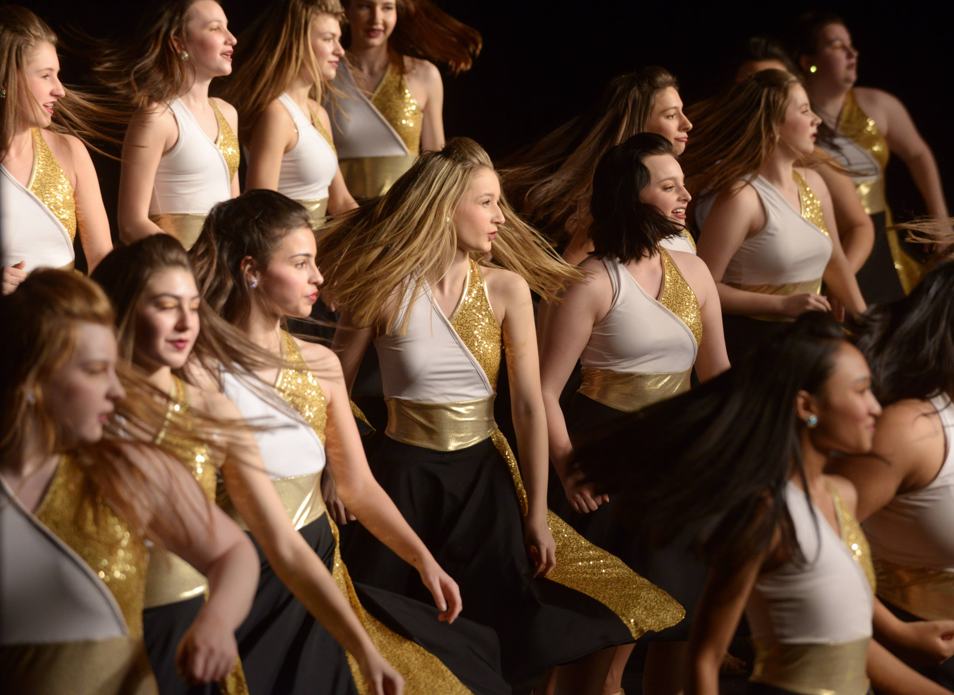 "The Rolling Meadows Leading Ladies"" performs during the 24th annual Chicagoland Showcase showchoir competition at John Hersey High School in Arlington Heights Saturday."