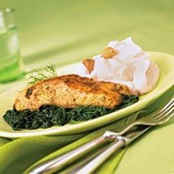 Baked Salmon with Sauteed Spinach