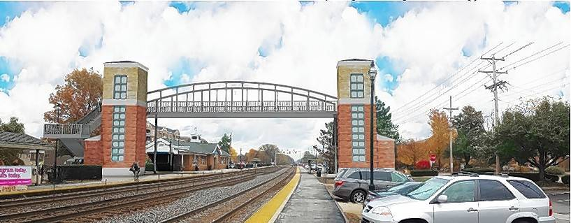 A previous rendering shows what a pedestrian bridge could look like near downtown Glen Ellyn. Village officials say they hope an engineering study will give them a clearer idea of whether a bridge or a tunnel would be a better choice for pedestrians.