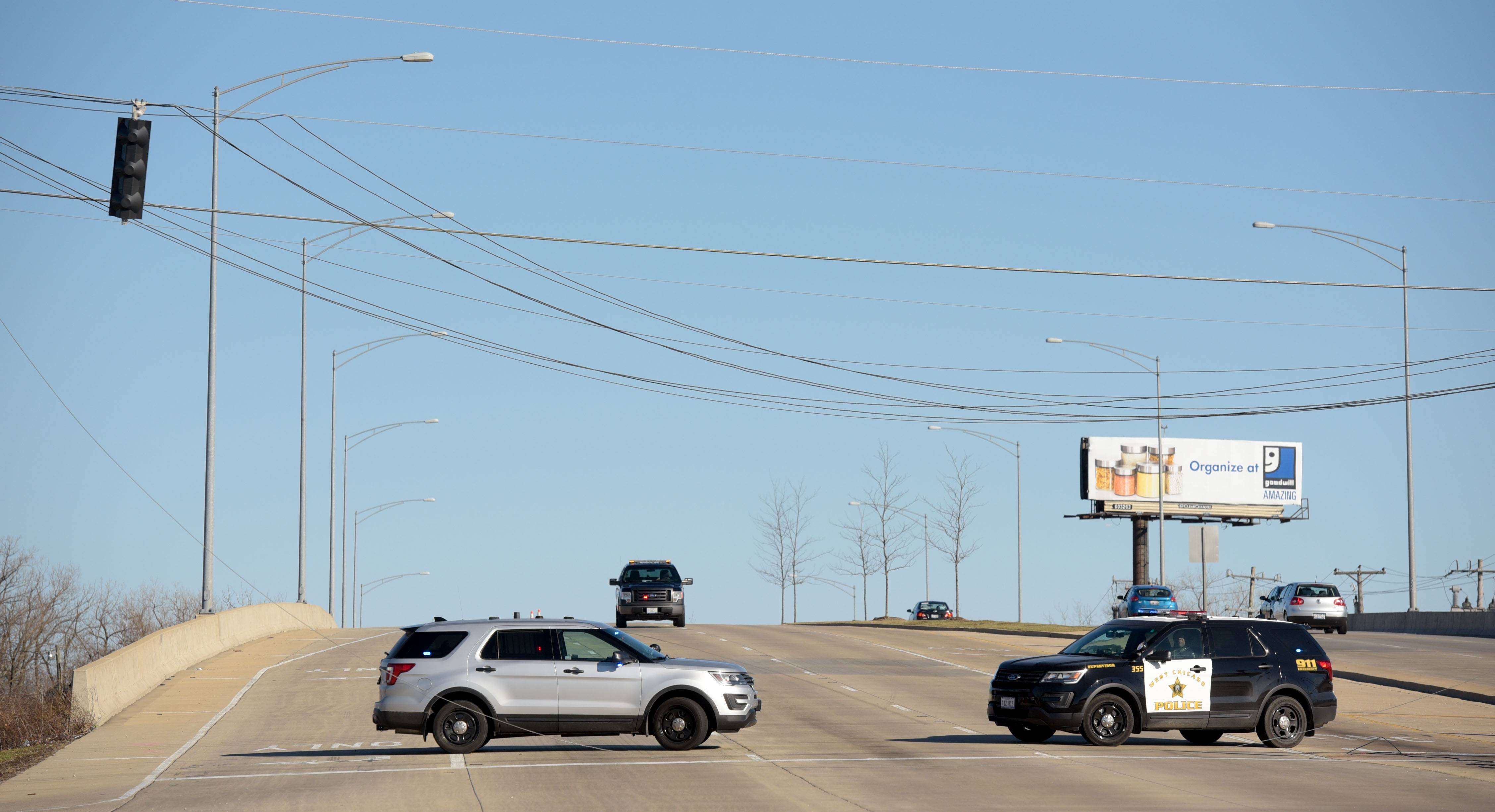 Westbound Route 64 in West Chicago was shut down between Route 59 and Powis Road Wednesday afternoon after high winds caused traffic light lines to come loose at Route 64 and Powis. Westbound traffic had to divert north or south on Route 59 to get around the closure.