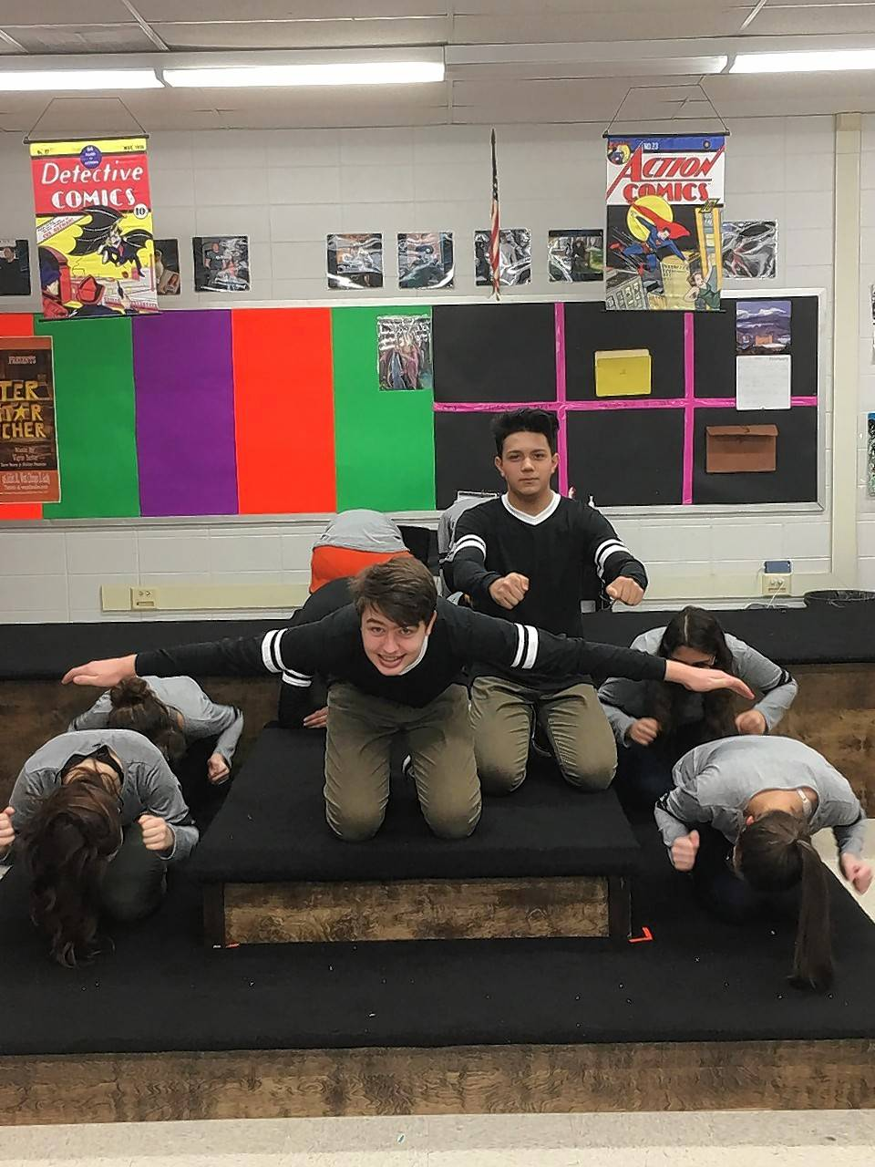 Nathan Bradley, kneeling left, Rudy Munoz and company this weekend will stage the performances Wego Drama will take to the 2017 IHSA Showcase.