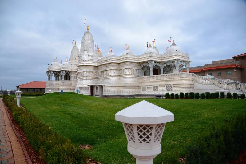 The mandir in Bartlett was built with tons of Italian Carrara marble, hand-carved in India.