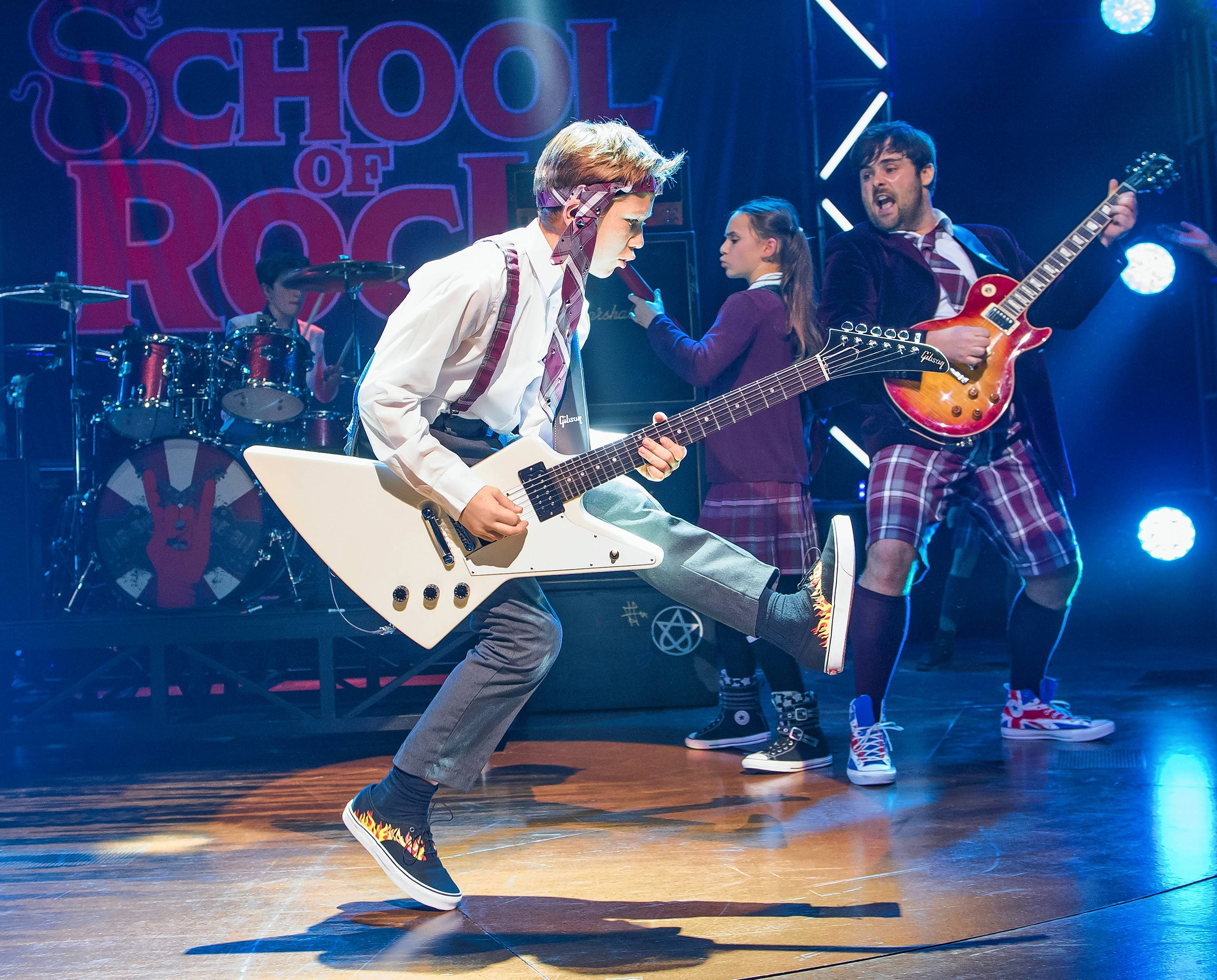 """School Of Rock,"" seen here in its London production, tells the story of a wannabe rock star who poses as a substitute teacher at a stuffy private school."
