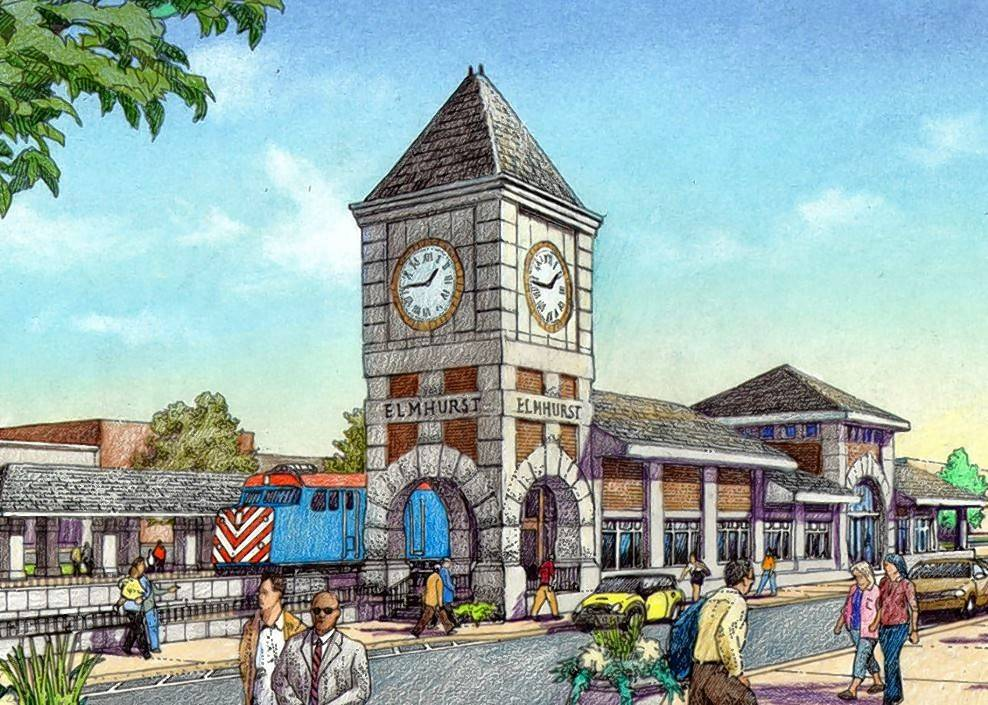 This rendering shows what Elmhurst's Metra station could look like if the city can raise enough money to realize the design team's vision.