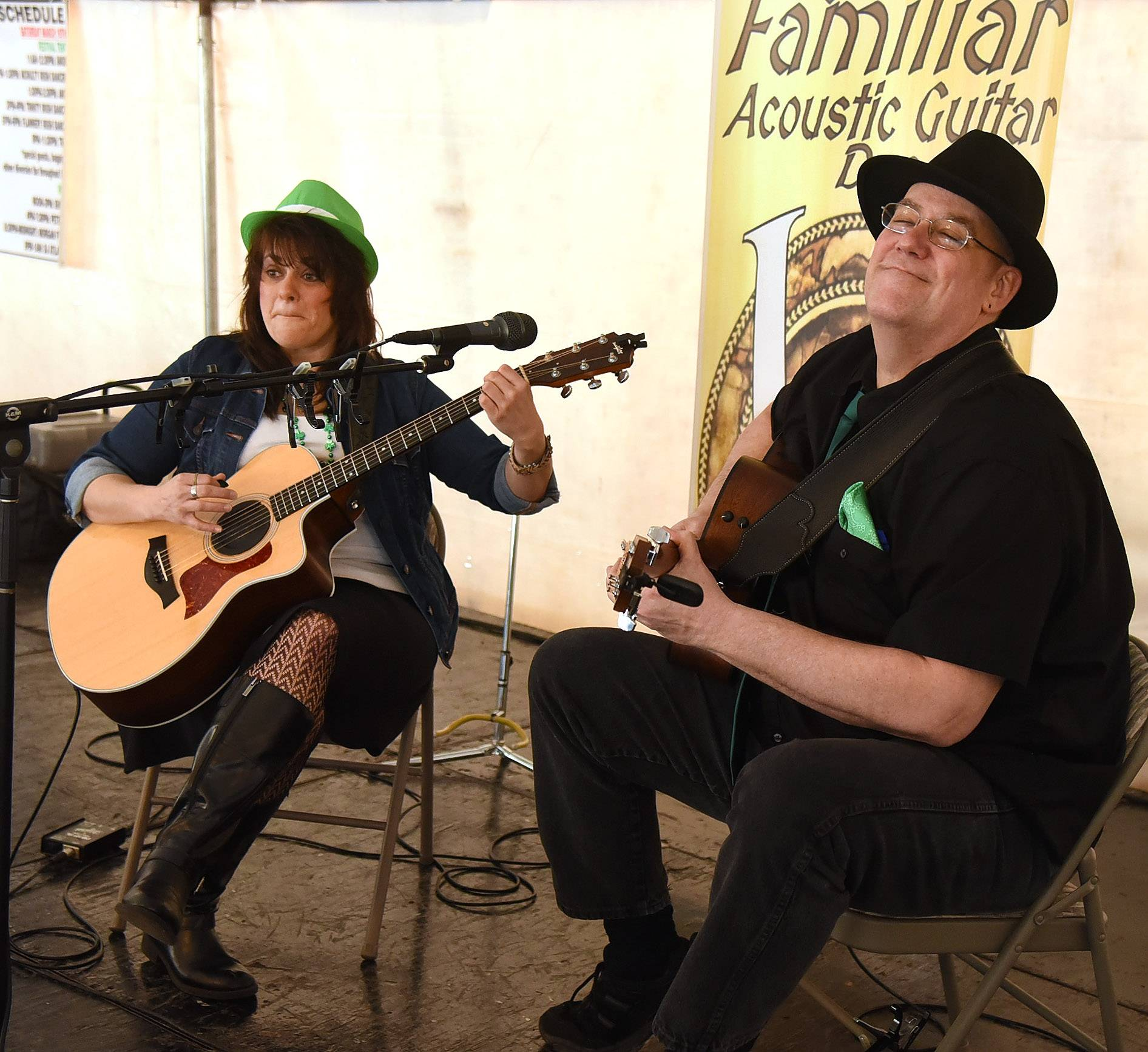 Tina Leontios of Carpentersville and Ted Hopf of Lake in the Hills perform as The Vaguely Familiar Acoustic Guitar Duo during opening day of the 2016 Barrington Celtic Fest. They'll be back this year.