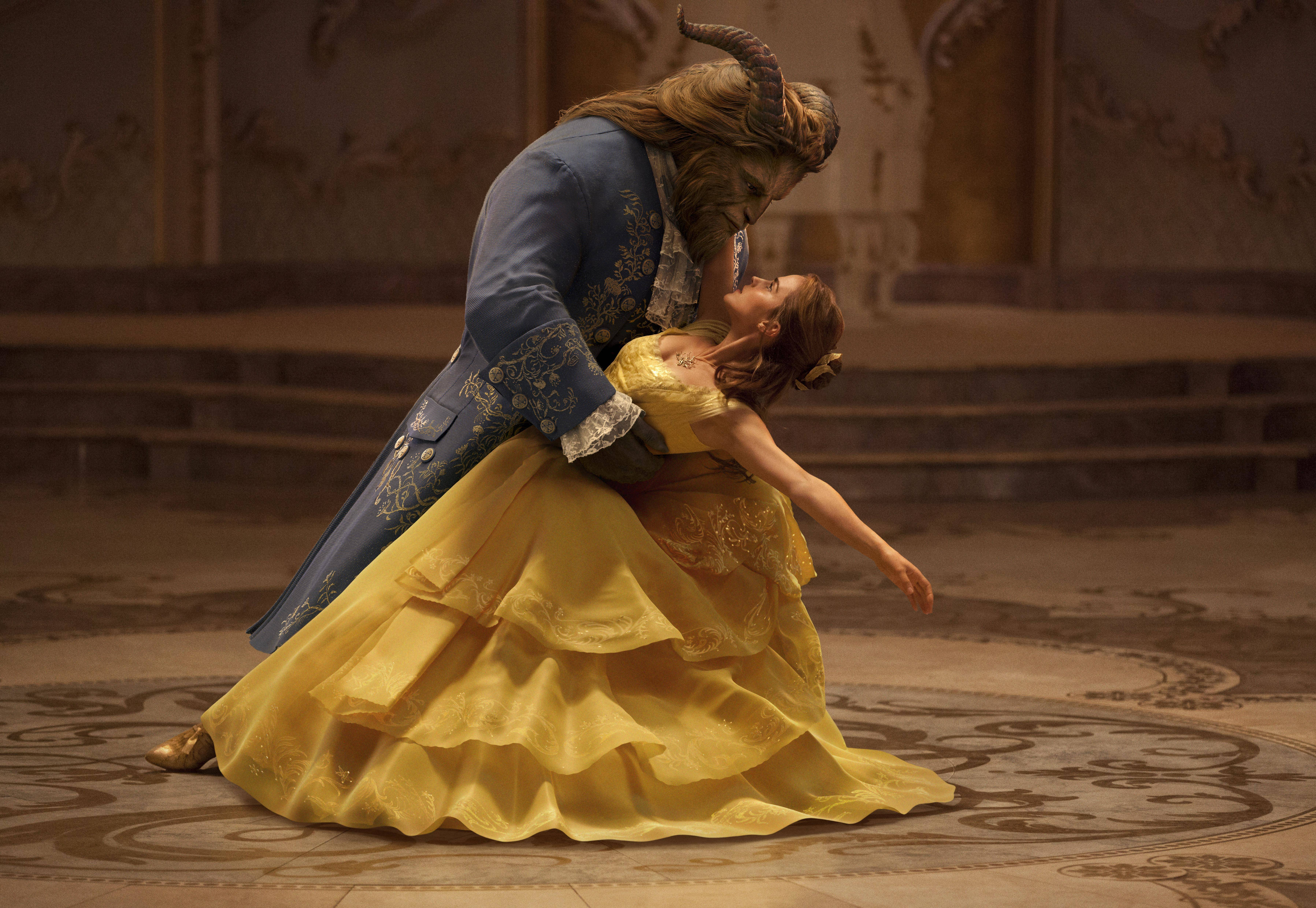 "Dan Stevens shows Emma Watson some of his animal moves in the live-action adaptation of Walt Disney's animated classic ""Beauty and the Beast."""