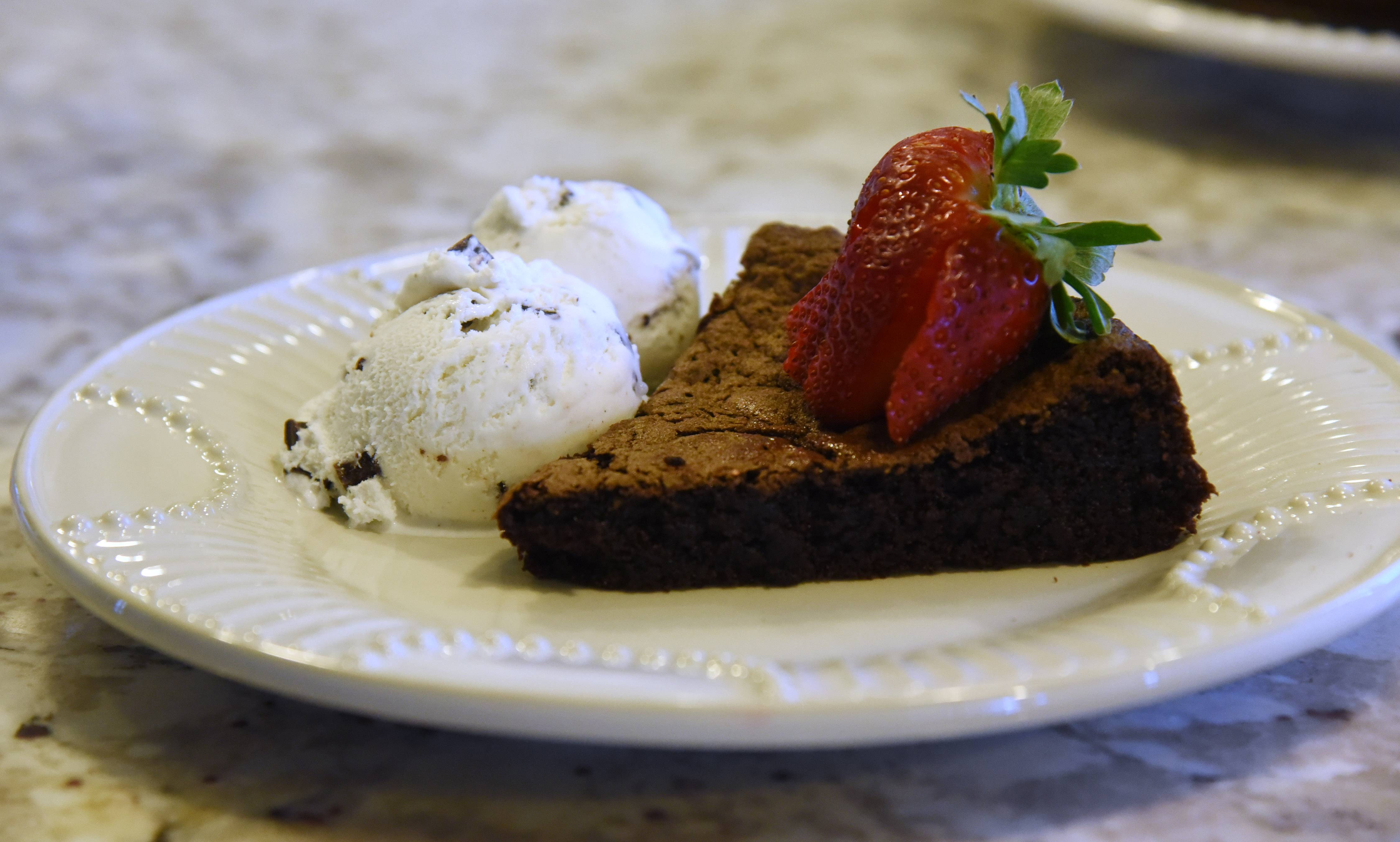Chocolate cake with ice cream and strawberries is an Abbott family favorite.