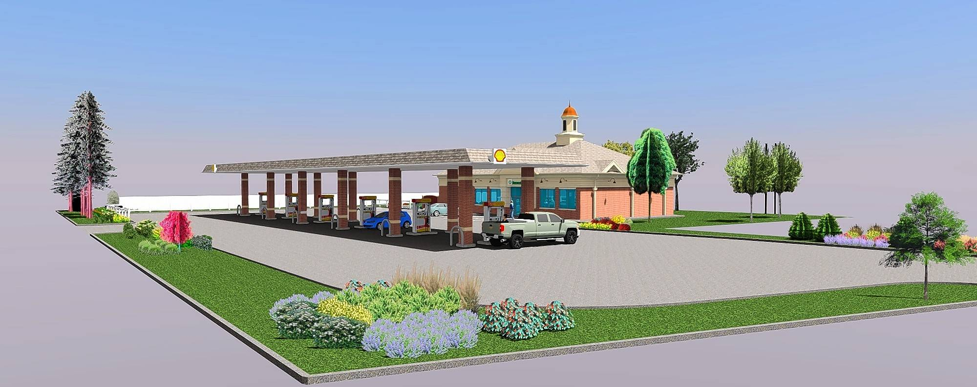 Developers are seeking to build a gas station and convenience store, shown in this rendering, on village-owned land at 825 N. Main St. in Glen Ellyn.
