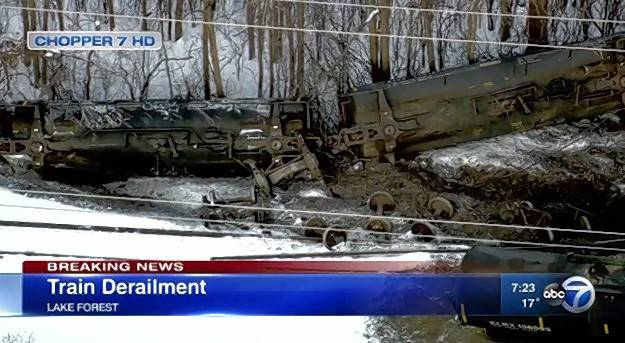 A freight train containing sulfur, a hazardous substance, derailed in Lake Forest Wednesday but did not leak.