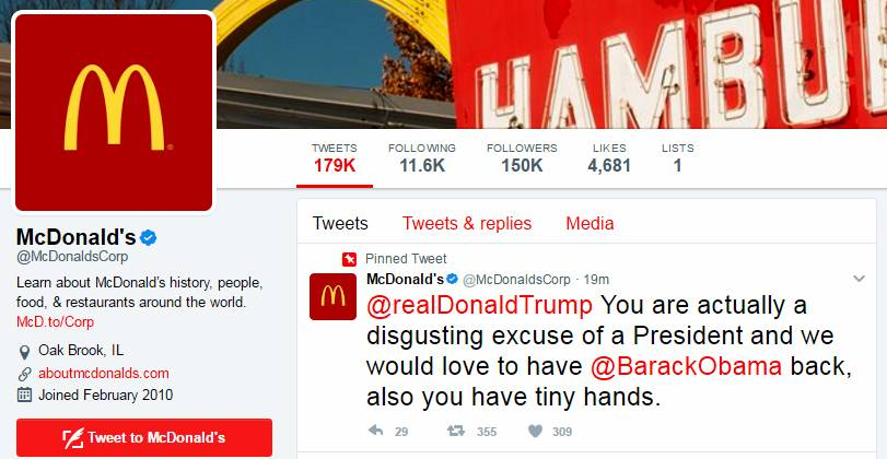 "Thursday morning, McDonald's corporate Twitter account seemed to insult President Donald Trump. Later in the morning, McDonald's tweeted: ""Twitter notified us that our account was compromised. We deleted the tweet, secured our account and are now investigating this."" MUST CREDIT: The Washington Post"