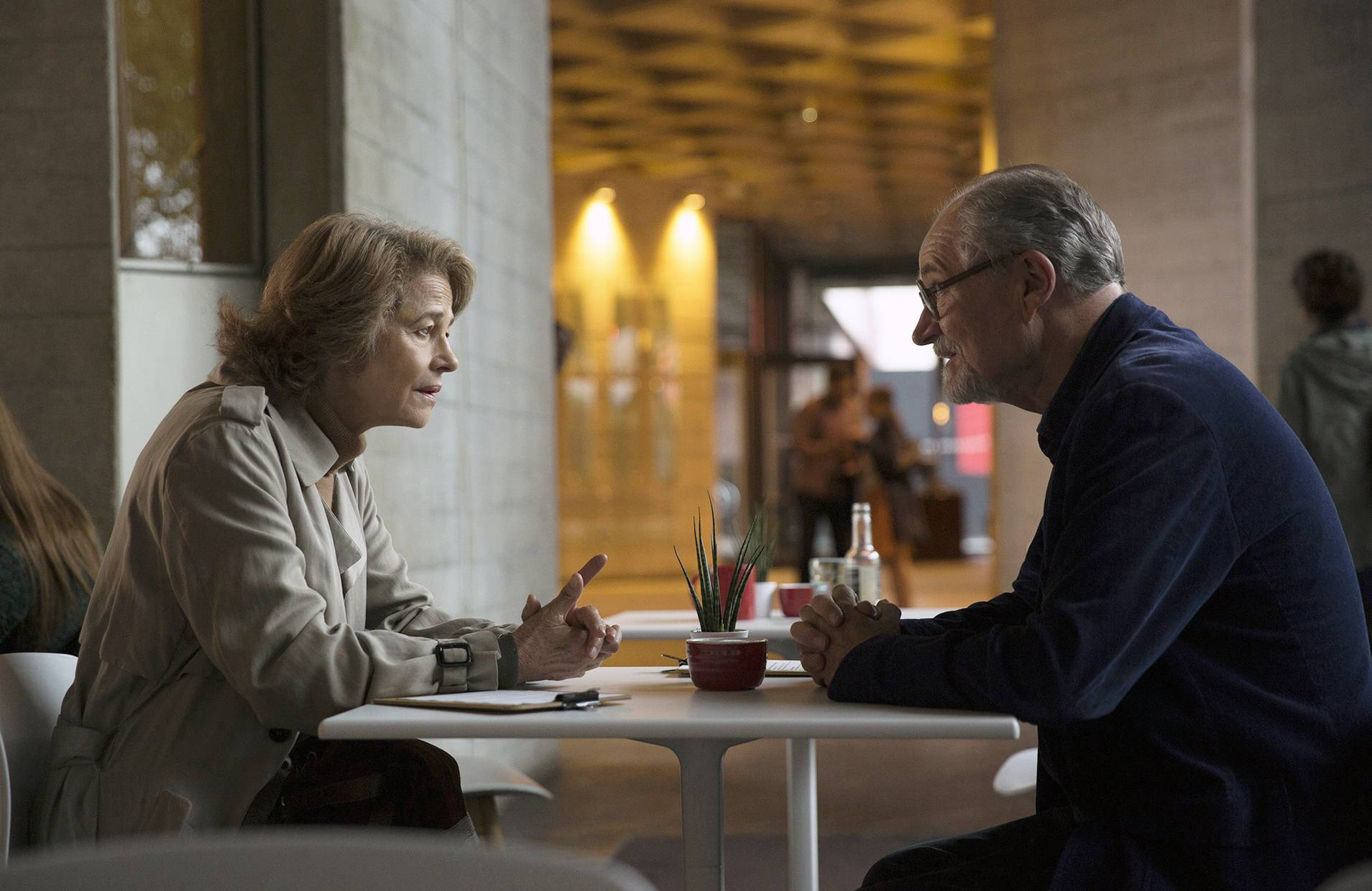 "Veronica (Charlotte Rampling) refuses to release a diary to former flame Tony (Jim Broadbent) in ""The Sense of an Ending."""
