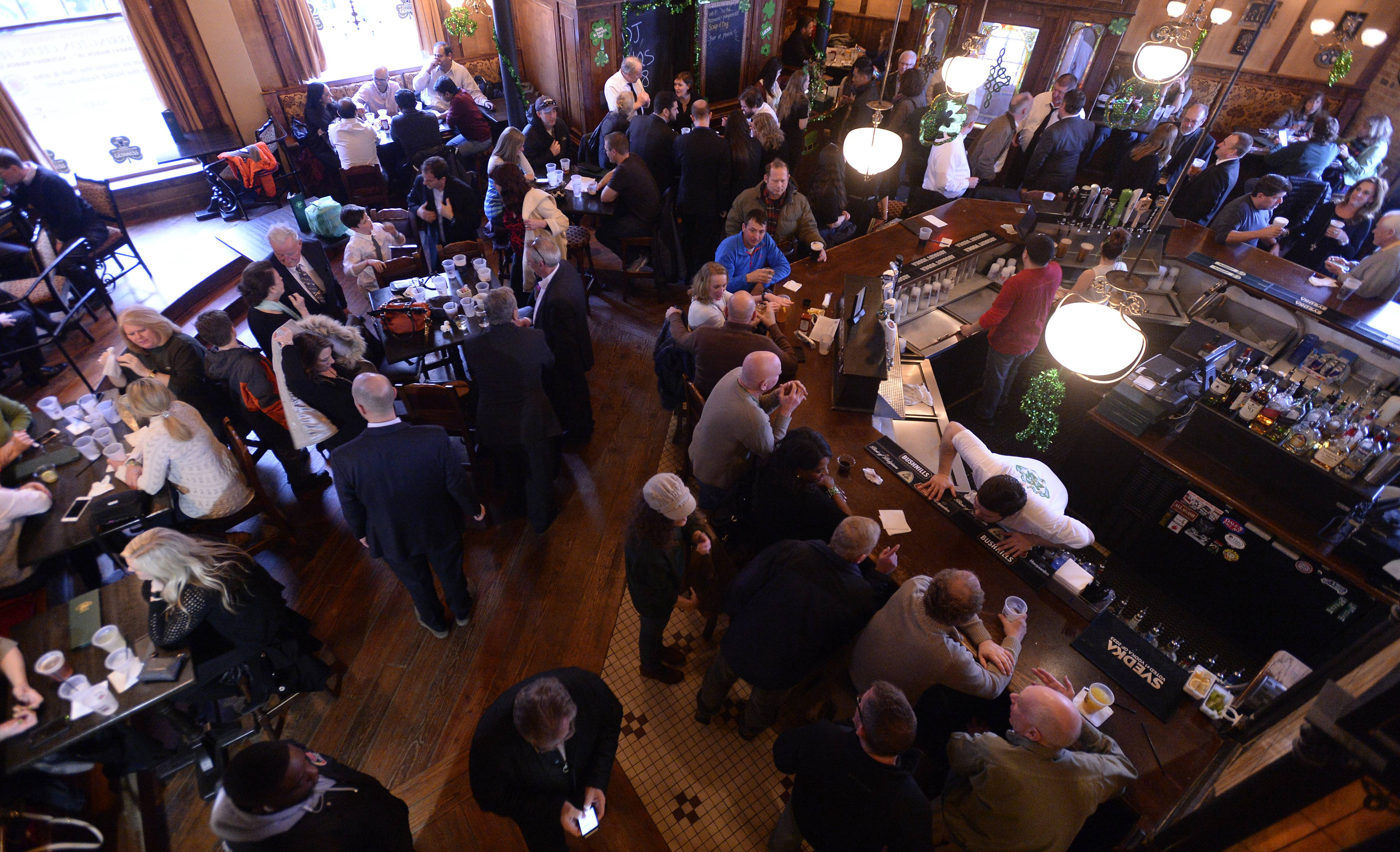 Beer, corned beef sandwiches and fish and chips were on everybody's minds Thursday at McGonigal's Pub in Barrington.