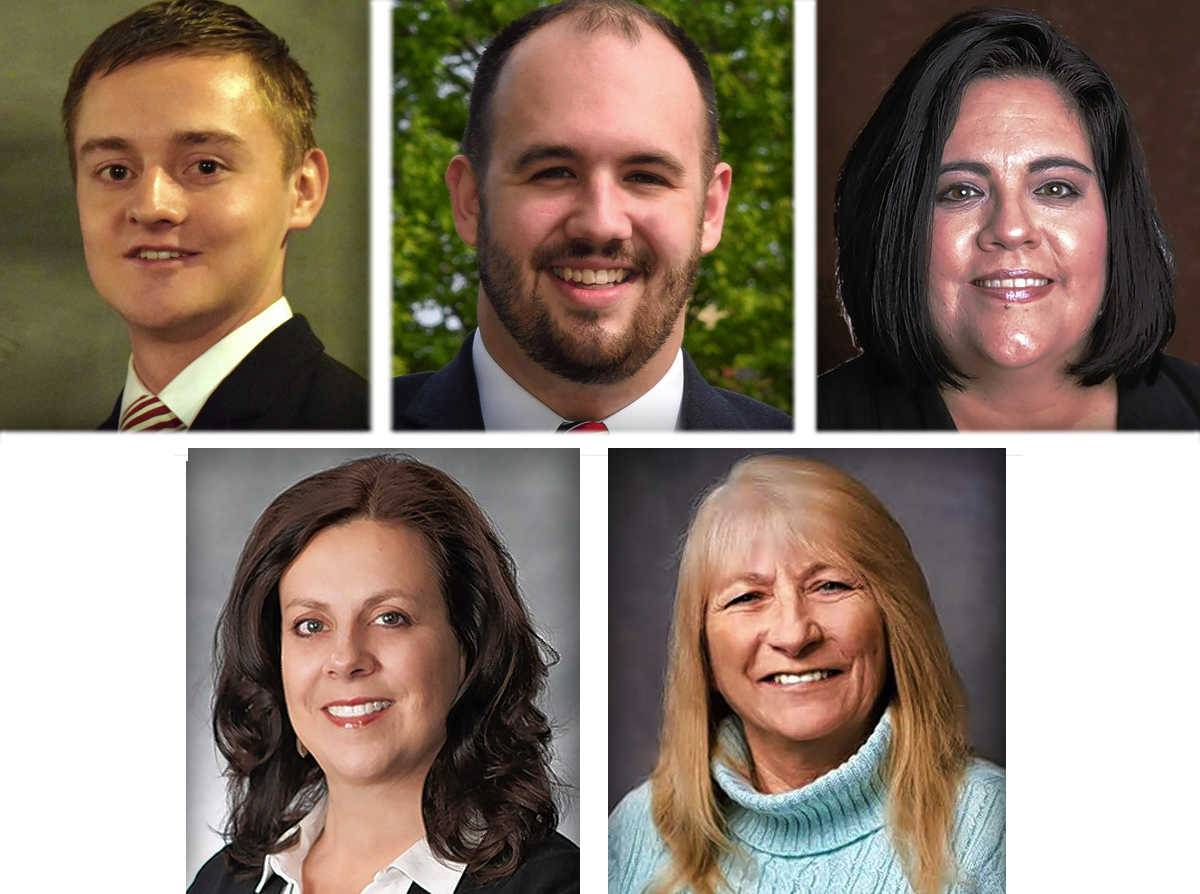 Clockwise from upper left, Enoch Essendrop, Cody Holt, Veronica Noland, Donna Smith and Melissa Owens are running for three seats on the Elgin Area School District U-46 school board April 4.