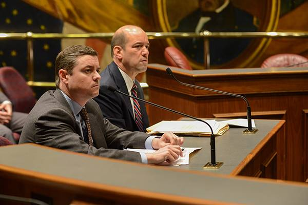 DuPage County State's Attorney Robert Berlin (at right)testified in support of legislation sponsored by State Sen. Chris Nybo (at left) during the Senate Criminal Law Committee meeting March 14 at the Capitol.Senate Communications