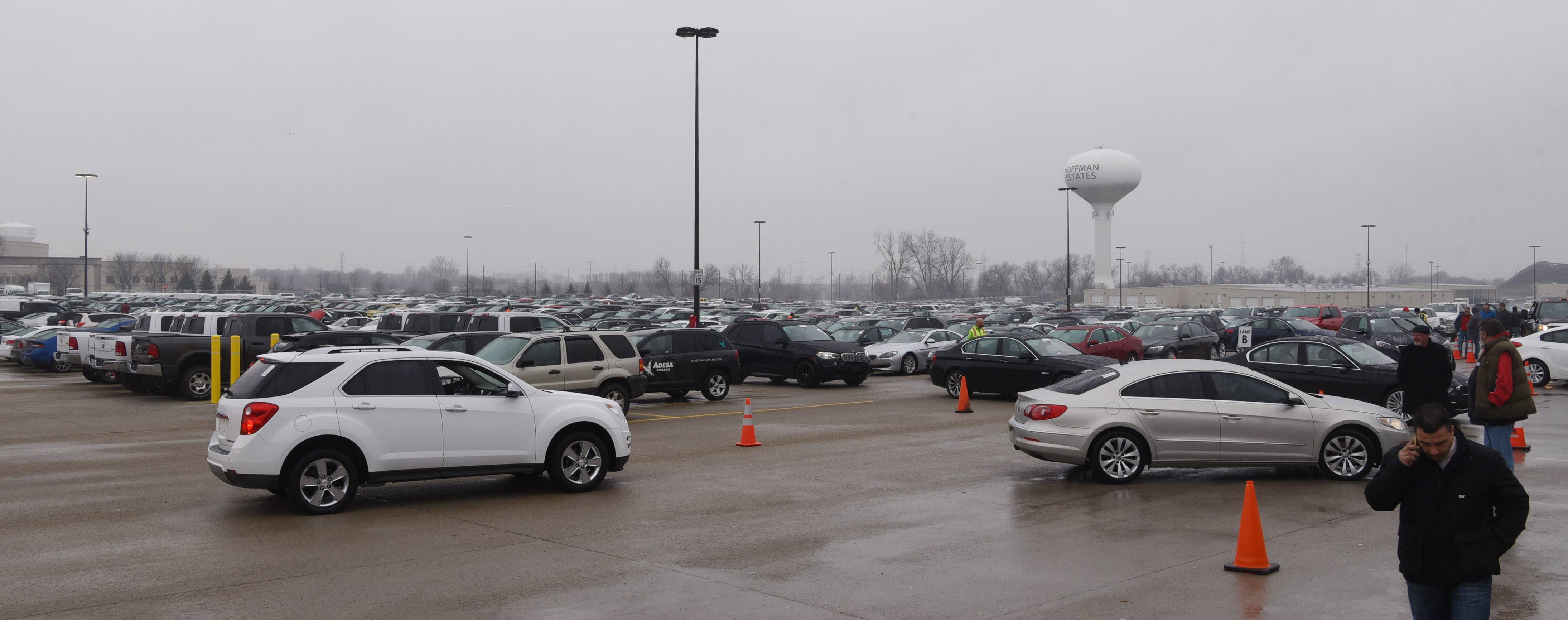 Cars and trucks are lined up before sale Friday during the grand opening of the Adesa Chicago vehicle auction facility in Hoffman Estates. The new facility at Beverly Road and Prairie Stone Parkway features eight lanes for simultaneous auctions and four buildings totaling about 167,000 square feet.