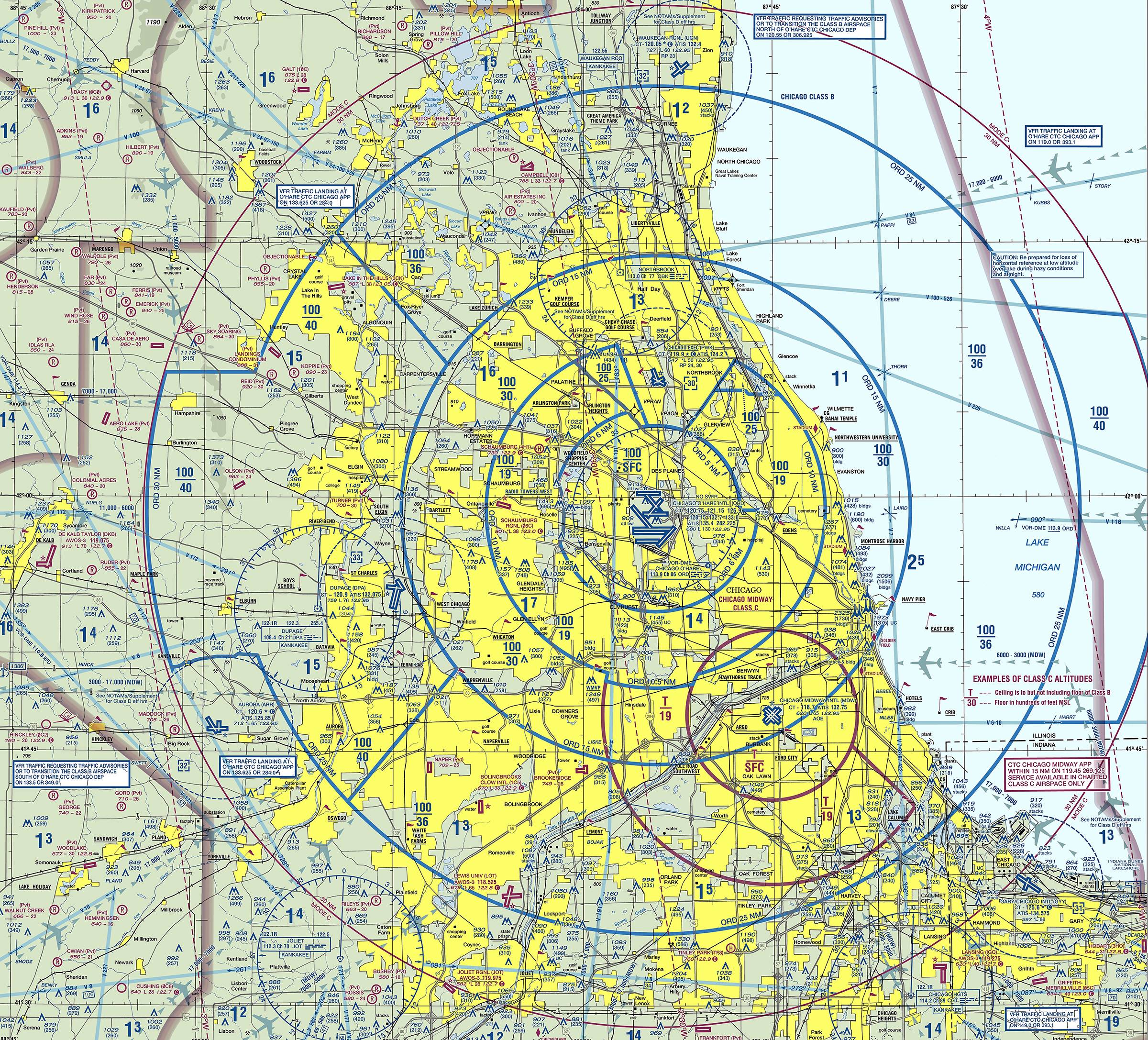 This Terminal Area Chart helps those operating drones know where they can and cannot fly safely. The chart, of the Chicago area including O'Hare and Midway airports, shows the different types of airspace, landmarks, terrain elevations, navigation routes and navigation aids.