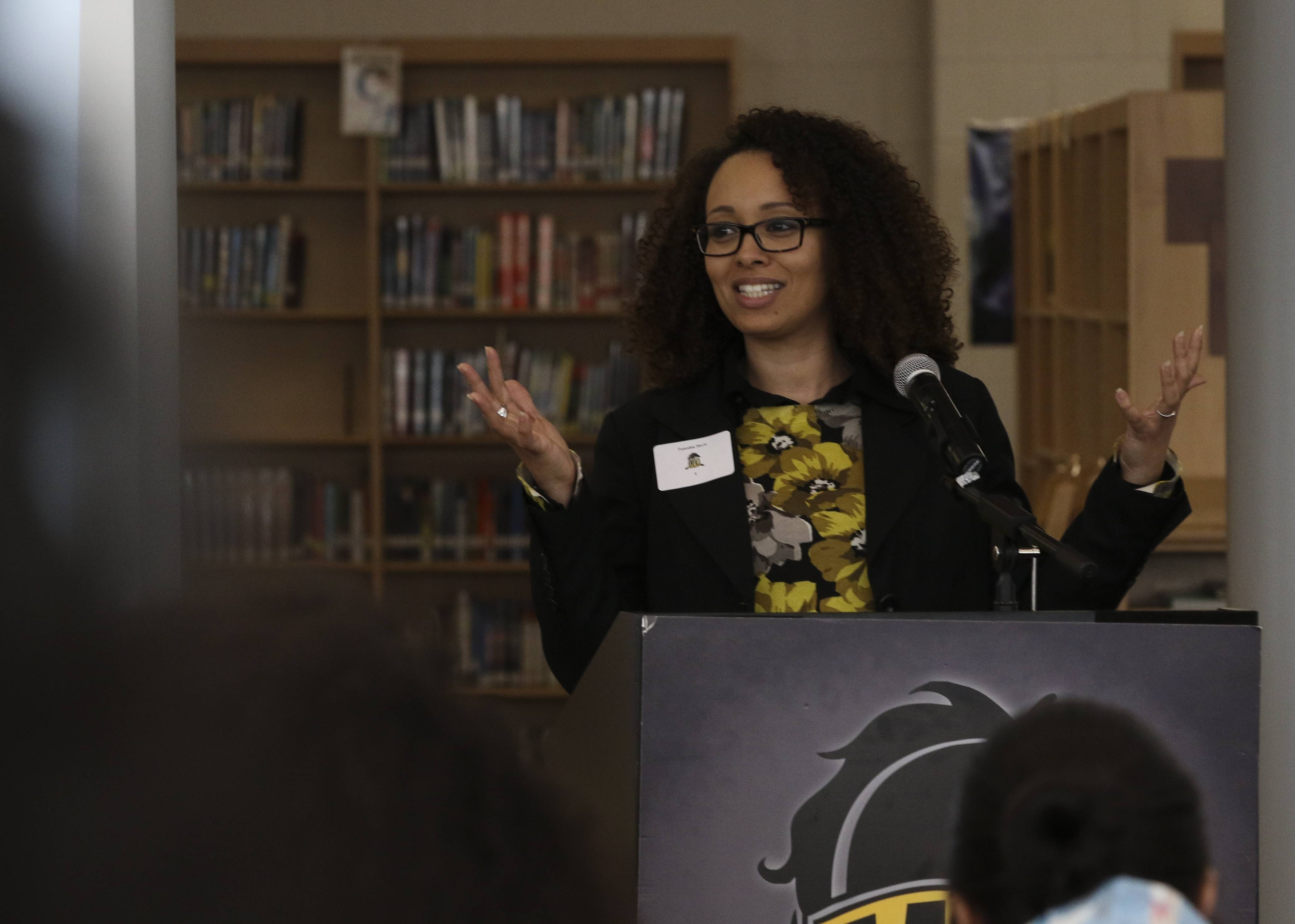 Four professionally successful women, including Taneshia Davis, specialized youth services coordinator for 360 Youth Services in Naperville, shared their stories with about 75 students at Metea Valley High School in Aurora to celebrate Women's History Month.
