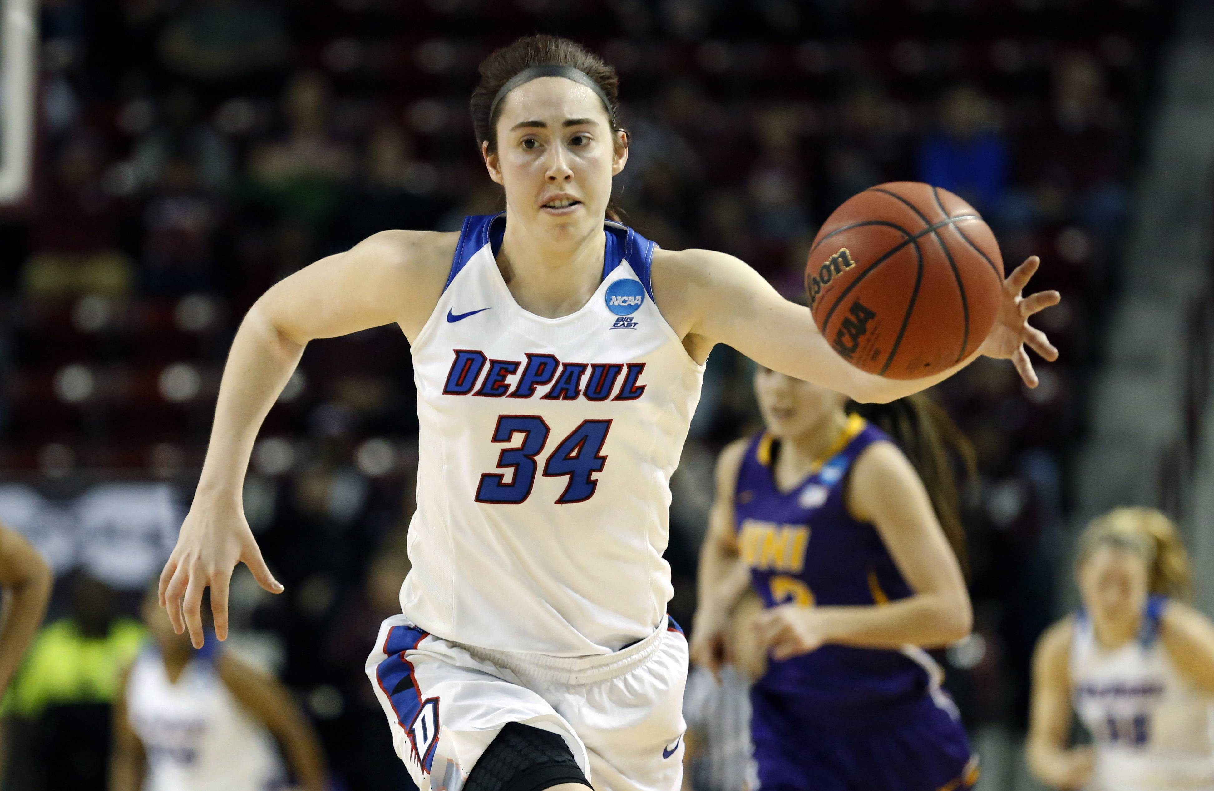 DePaul forward Jacqui Grant (34) begins a fast break against Northern Iowa during the second half of a first-round game in the women's NCAA college basketball tournament in Starkville, Miss., Friday, March 17, 2017. DePaul won 88-67.
