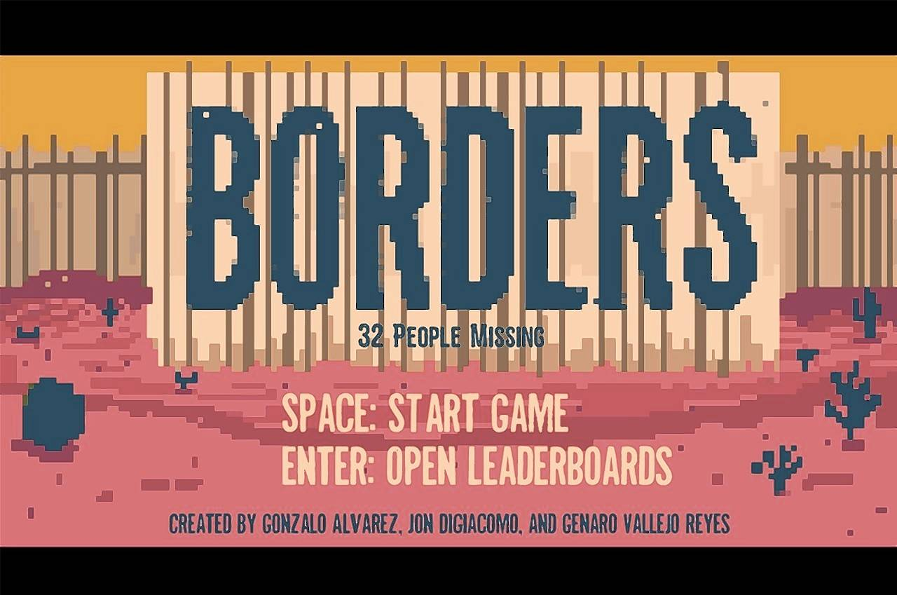 """Borders"" puts players in the shoes of migrants, challenging them to dodge Border Patrol agents, ""los moscos,"" prickly cactuses and more. The migrant character crosses rivers and large swaths of desert, all while collecting water jugs to stay hydrated."