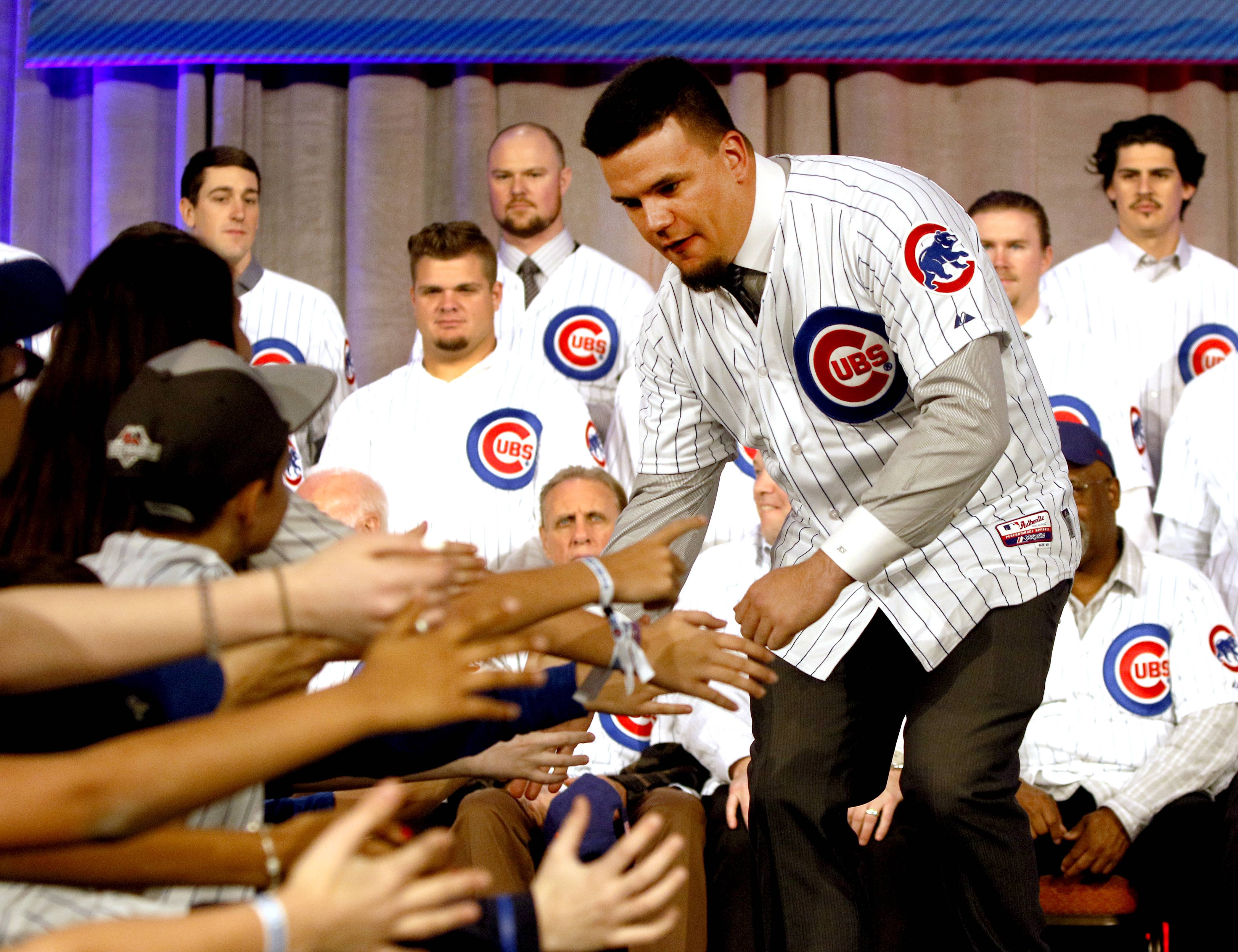 Kyle Schwarber greets fans during the annual Cubs Convention at the Sheraton Grand Chicago.