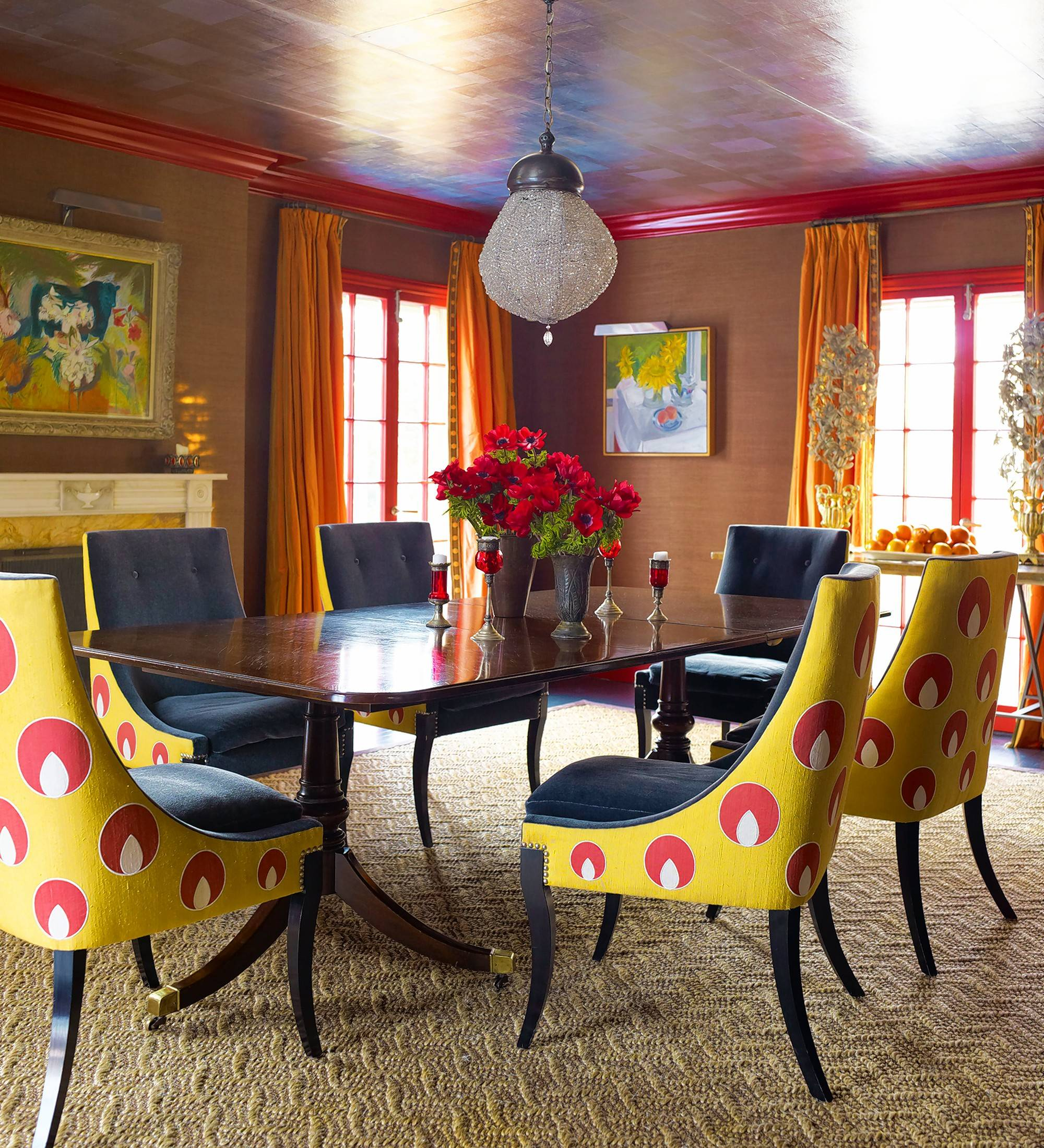 Katie Ridder and Peter Pennoyer's dramatic dining room at their house in Westchester, New York.
