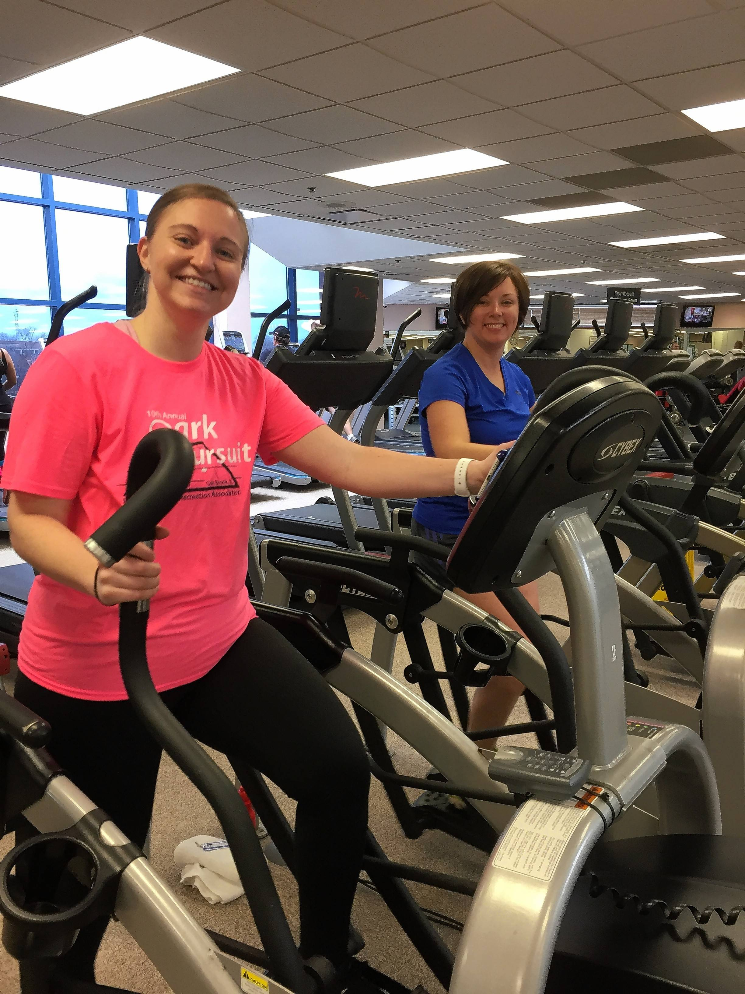 Kim Laper, left, and Andrea Blake of Team Elk Strong from the Elk Grove Park District. Every member except for one came down with sickness but Kim and Andrea found time to hit up the gym.