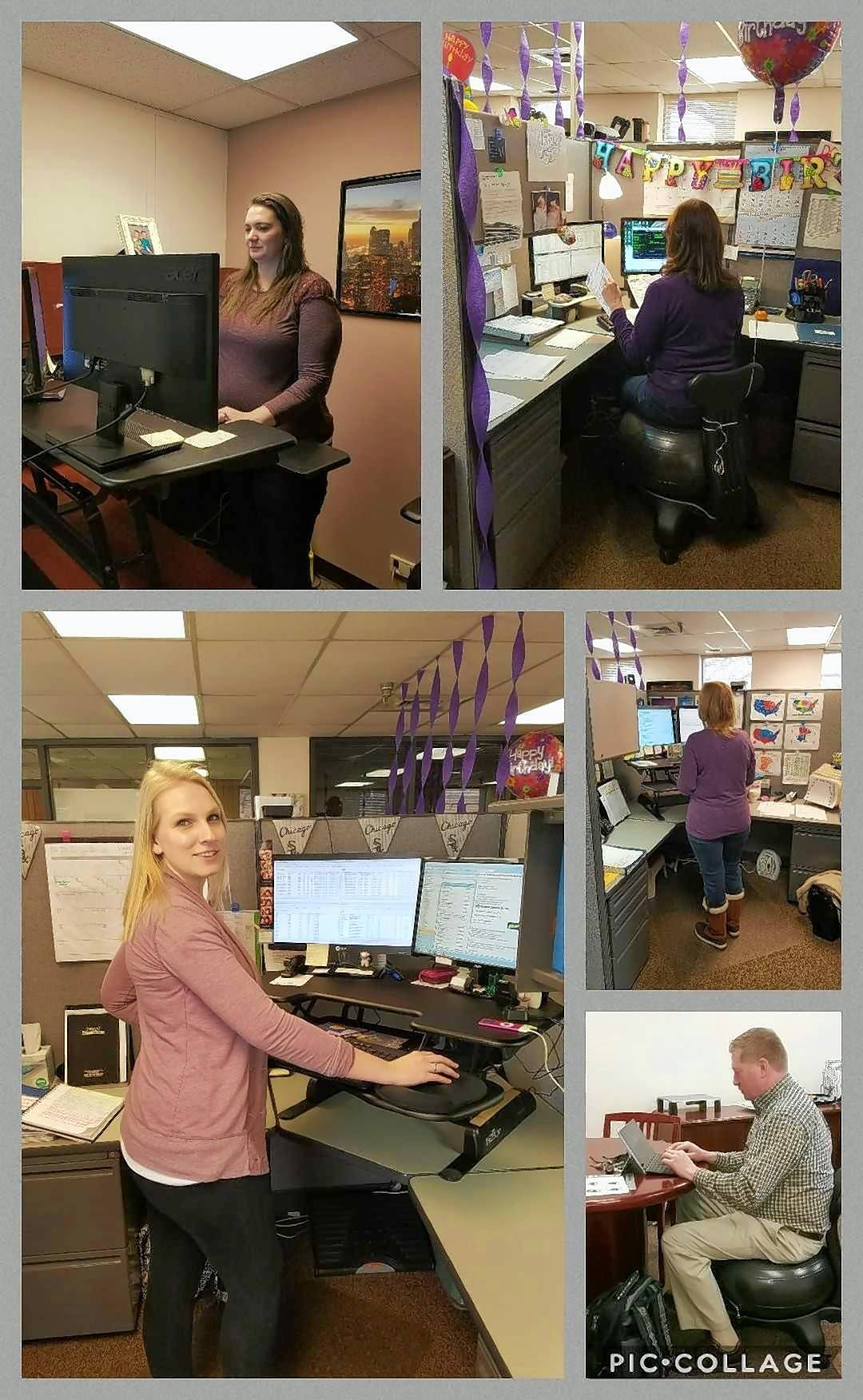 From top left, clockwise: Crystal Templeman, Cindy Alexander, Veronica Kinsley, Jim Redding and Jessica Kepple of Team Fat 2 Fit from Davies Molding. Even while working, they're getting fit. Davies Molding has supplied them with yoga ball chairs and stand up desks.