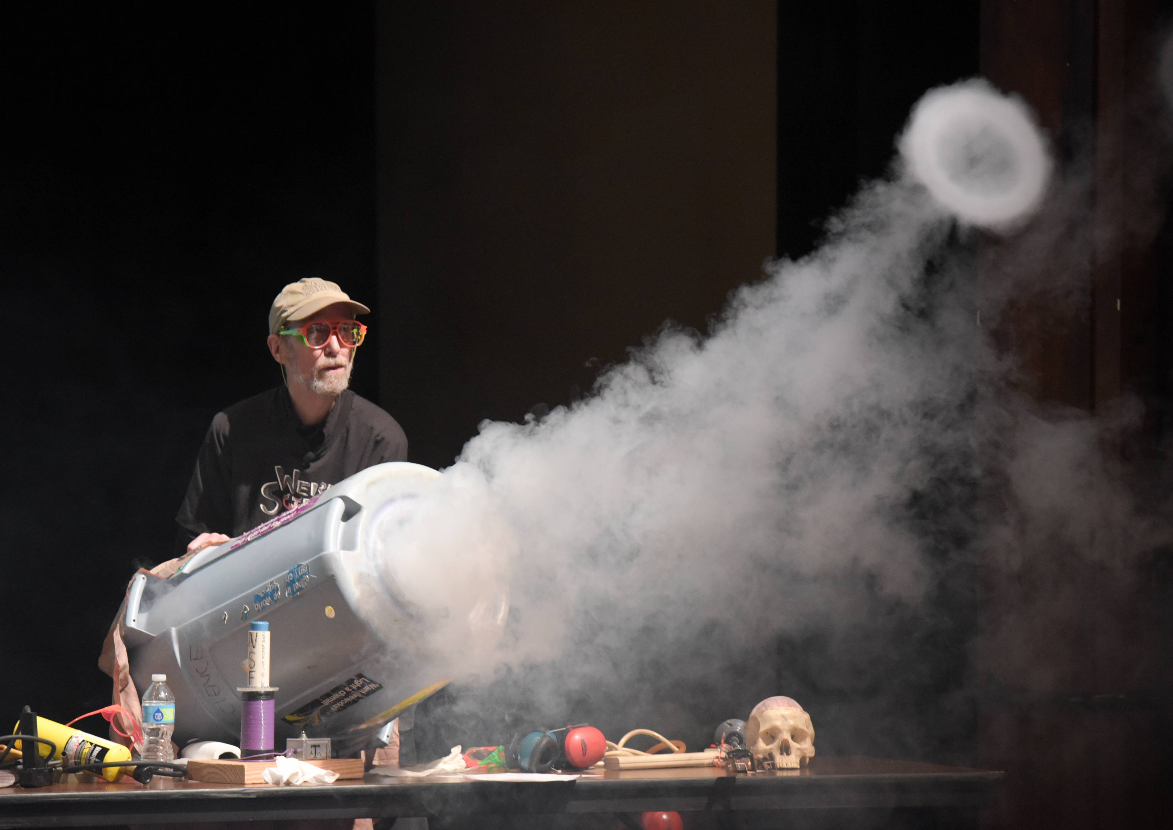 Retired science instructor Lee Marek of Naperville makes vortex smoke rings Sunday during the 30th annual Wonders of Science at Fermilab in Batavia.