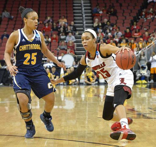 Louisville's Asia Durr (25) attempts to drive around the defense of Chattanooga's Chelsey Shumpert (25) in the second half of a first-round game in the women's NCAA college basketball tournament, Saturday, March 18, 2017, in Louisville, Ky. Louisville won 82-62.