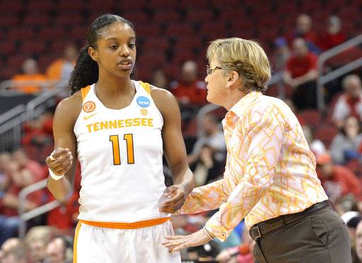 Tennessee's head coach Holly Warlick talks to Diamond DeShields (11) during the second half of a first-round game against Dayton in the women's NCAA college basketball tournament, Saturday, Mar. 18, 2017, in Louisville, Ky. Tennessee won 66-57.