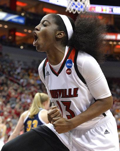 Louisville's Jazmine Jones (23) reacts after being fouled in the second half of a first-round game against Chattanooga in the women's NCAA college basketball tournament, Saturday, March 18, 2017, in Louisville, Ky. Louisville won 82-62.