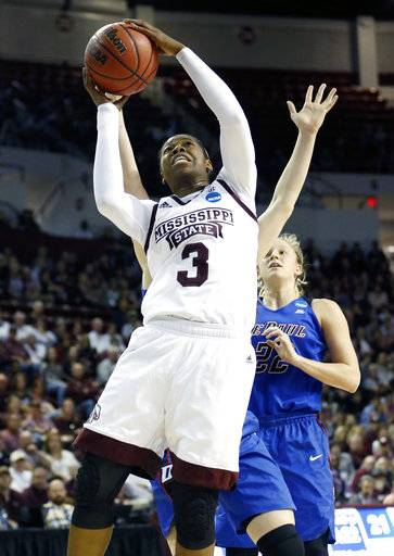 Mississippi State forward Breanna Richardson (3) makes a layup in front of DePaul guard Brooke Schulte (22) during the first half of a second-round game in the women's NCAA college basketball tournament in Starkville, Miss., Sunday, March 19, 2017. (AP Photo/Rogelio V. Solis)