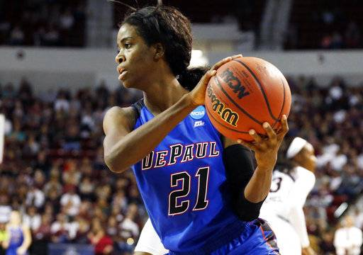 DePaul forward Chante Stonewall (21) looks for a teammate to pass to during the first half of a second-round game against Mississippi State in the women's NCAA college basketball tournament in Starkville, Miss., Sunday, March 19, 2017.
