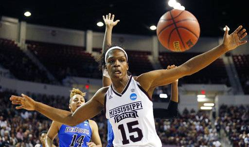 Mississippi State center Teaira McCowan (15) defends a against a pass to a DePaul player during the first half of a second-round game in the women's NCAA college basketball tournament in Starkville, Miss., Sunday, March 19, 2017.
