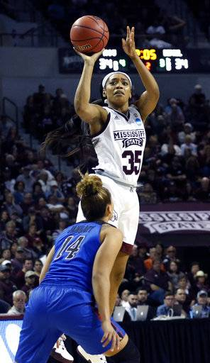 Mississippi State forward Victoria Vivians (35) shoots over DePaul guard Jessica January (14) during the first half of a second-round game in the women's NCAA college basketball tournament in Starkville, Miss., Sunday, March 19, 2017.