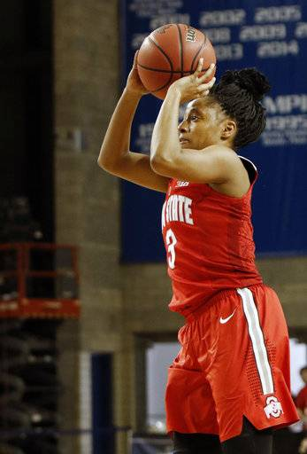 Ohio State's Kelsey Mitchell takes an uncontested shot against Kentucky during a second-round game in the women's NCAA college basketball tournament in Lexington, Ky., Sunday, March 19, 2017. (AP Photo/James Crisp)