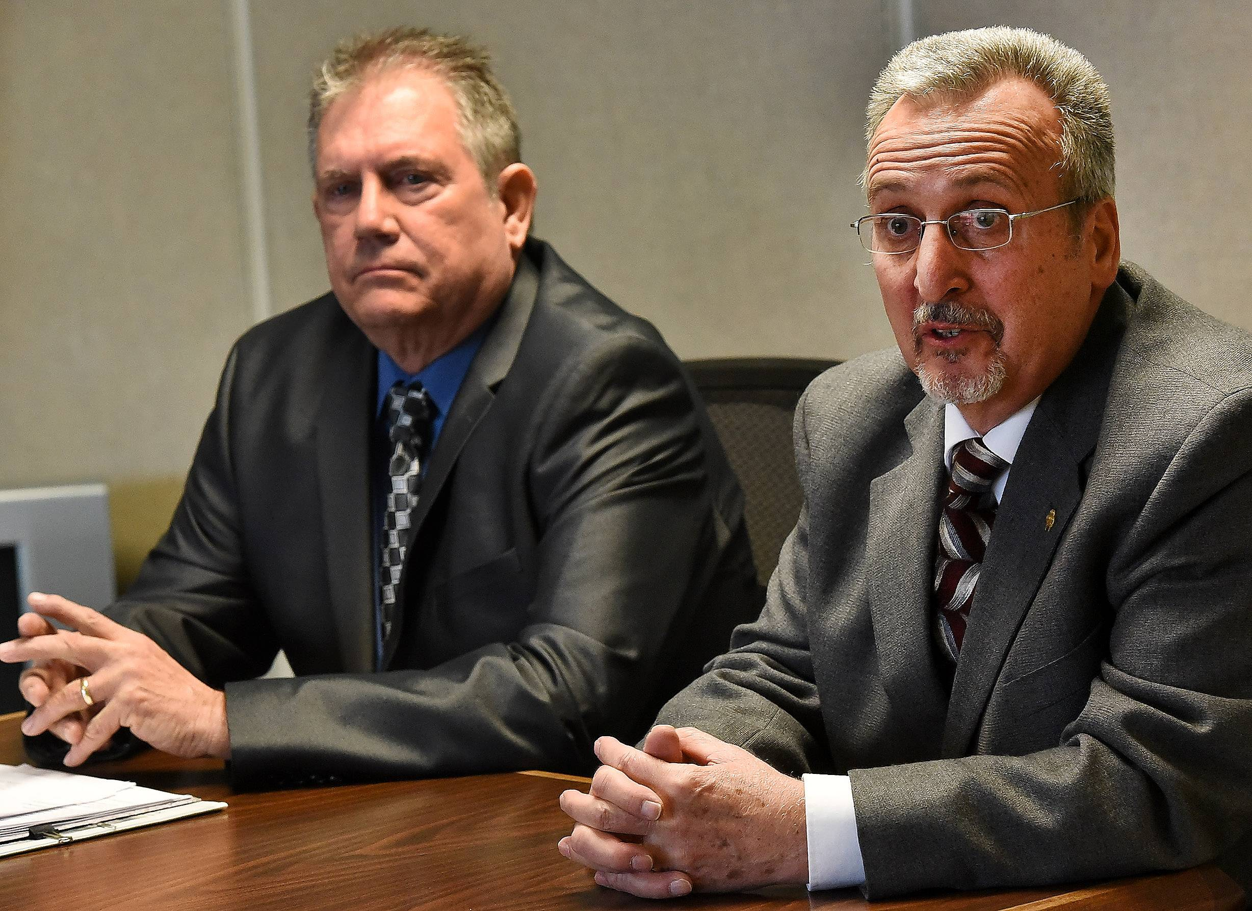 Wayne Domke, left, and Andrew Maglio are running for Roselle village president in the April 4 election to replace the retiring Gayle Smolinski.