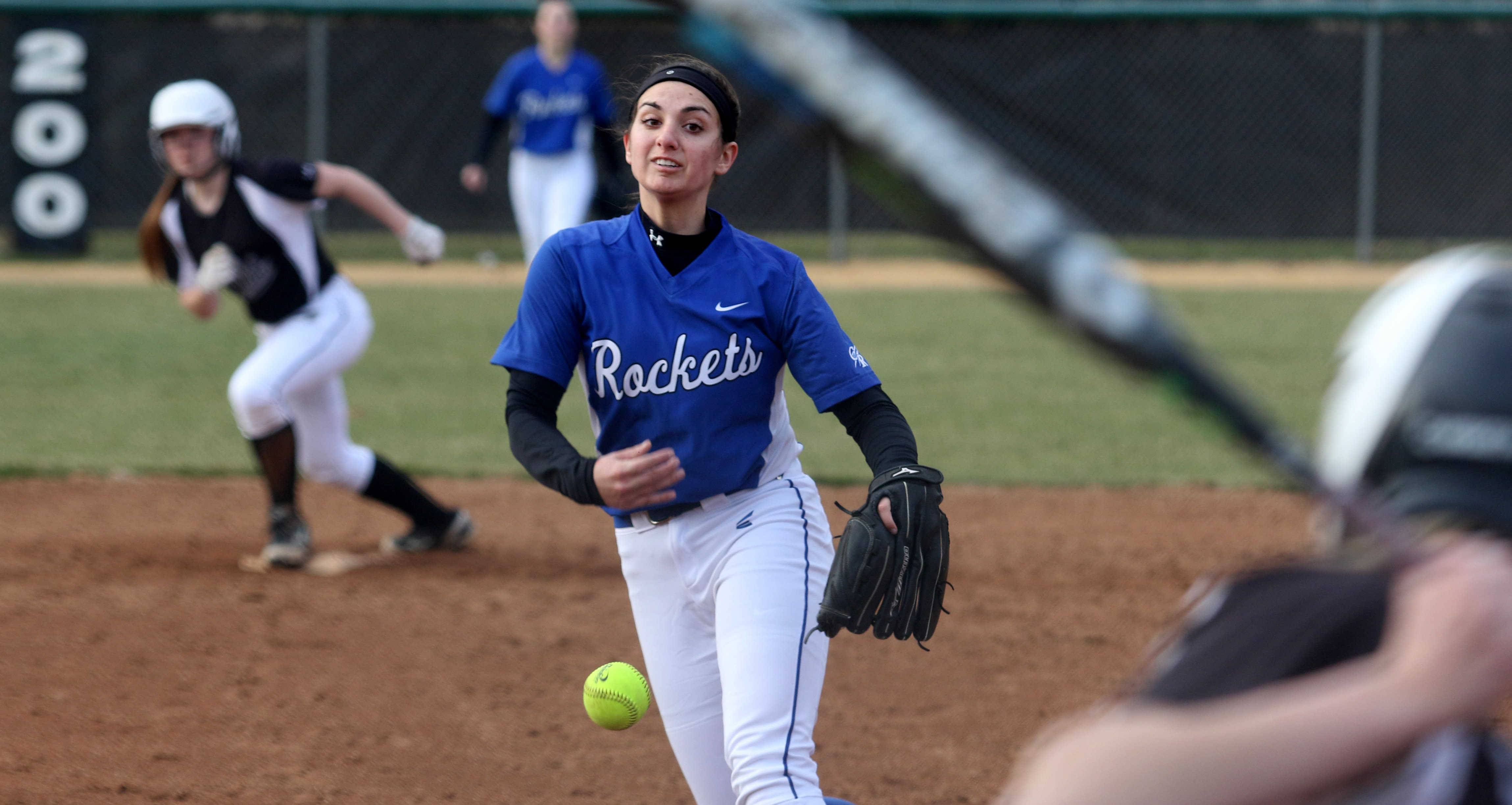 Burlington Central pitcher Julia Barnes makes an offering during varsity softball action at Kaneland Monday night.