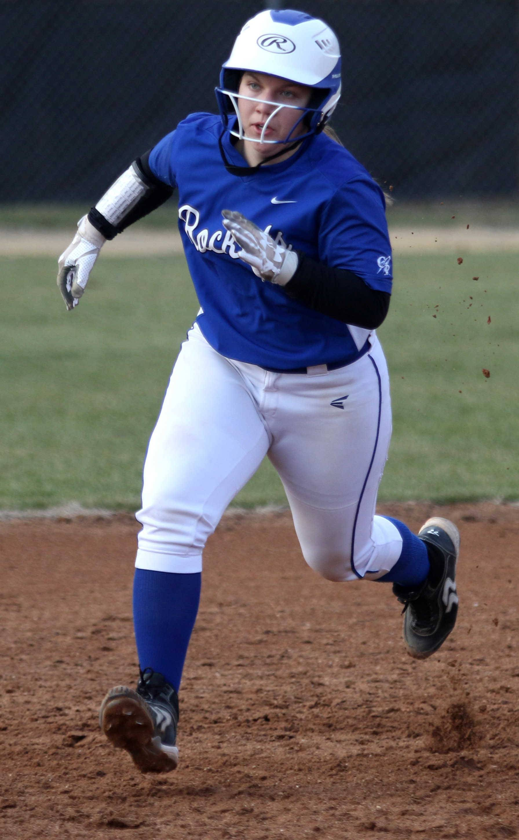 Burlington Central's Danielle Yurgil rounds second base during varsity softball action at Kaneland Monday night.