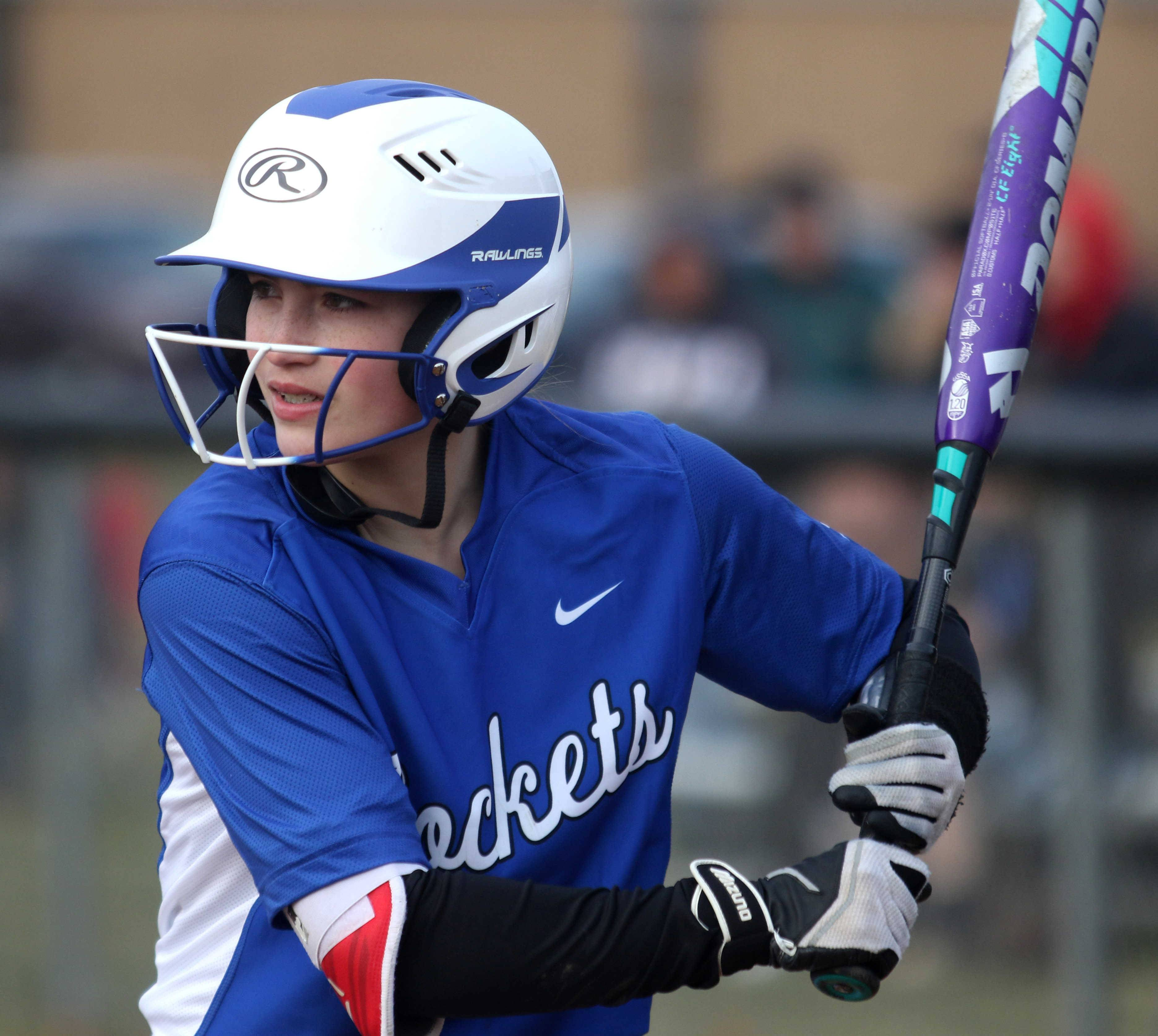 Burlington Central's Reili Gardner checks in to bat during varsity softball action at Kaneland Monday night.